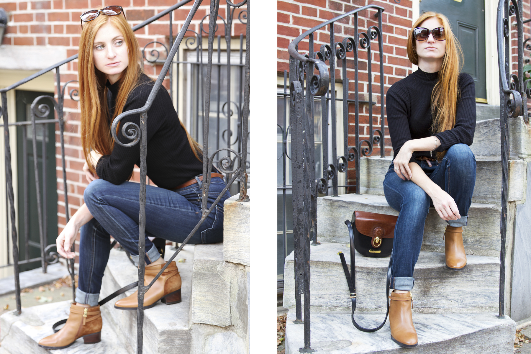 Redhead girl sitting on steps in black shirt and jeans