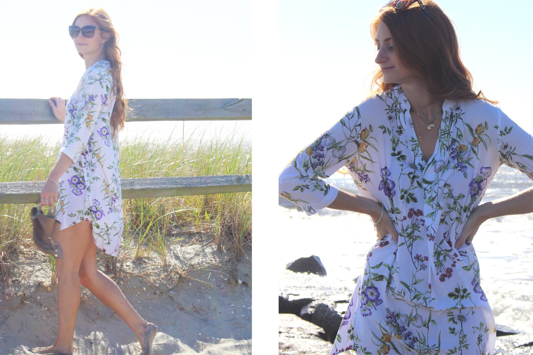 Redhead girl at beach in floral H&M dress