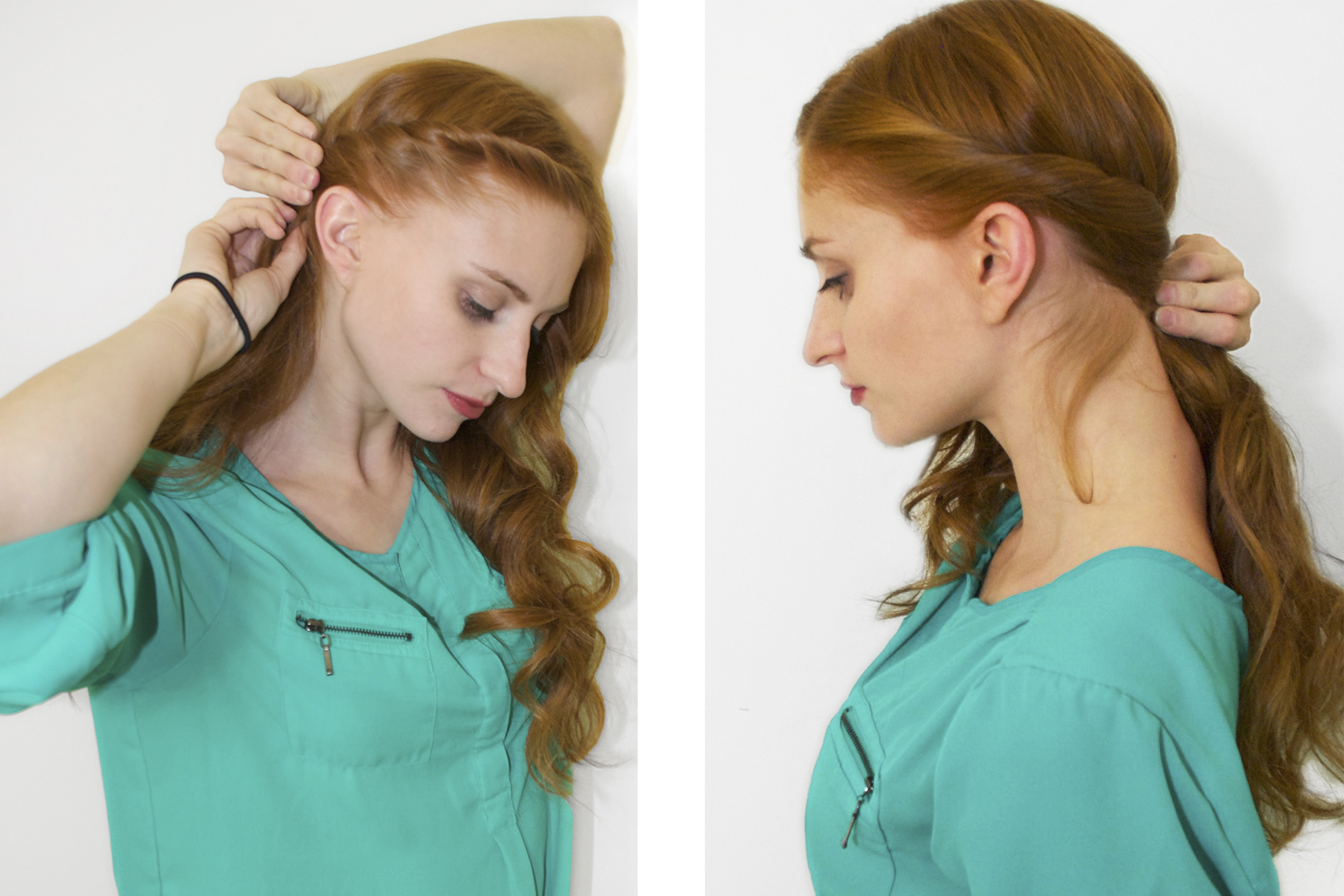 Redhead rolleing the front of her hair in green shirt