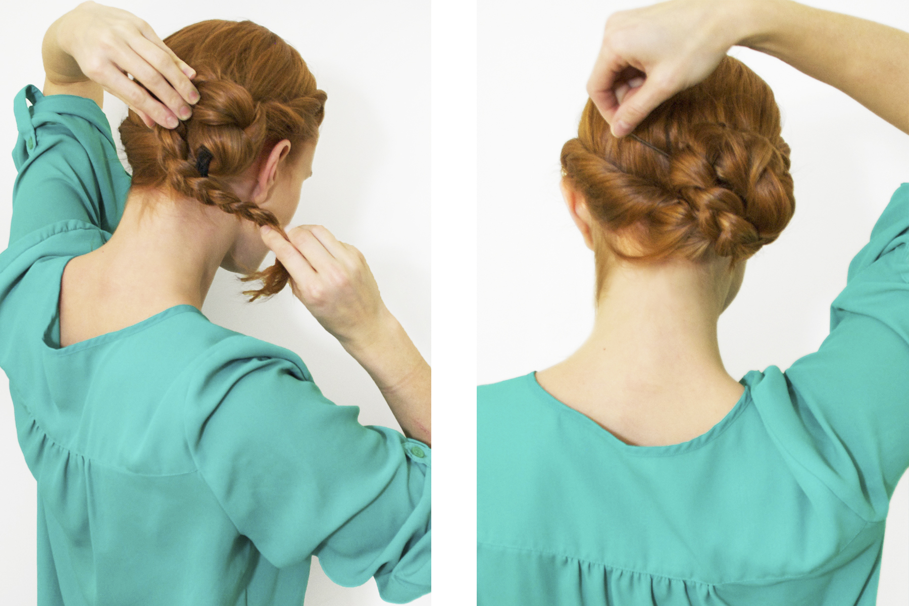 Redhead creating and pinning a braided side bun