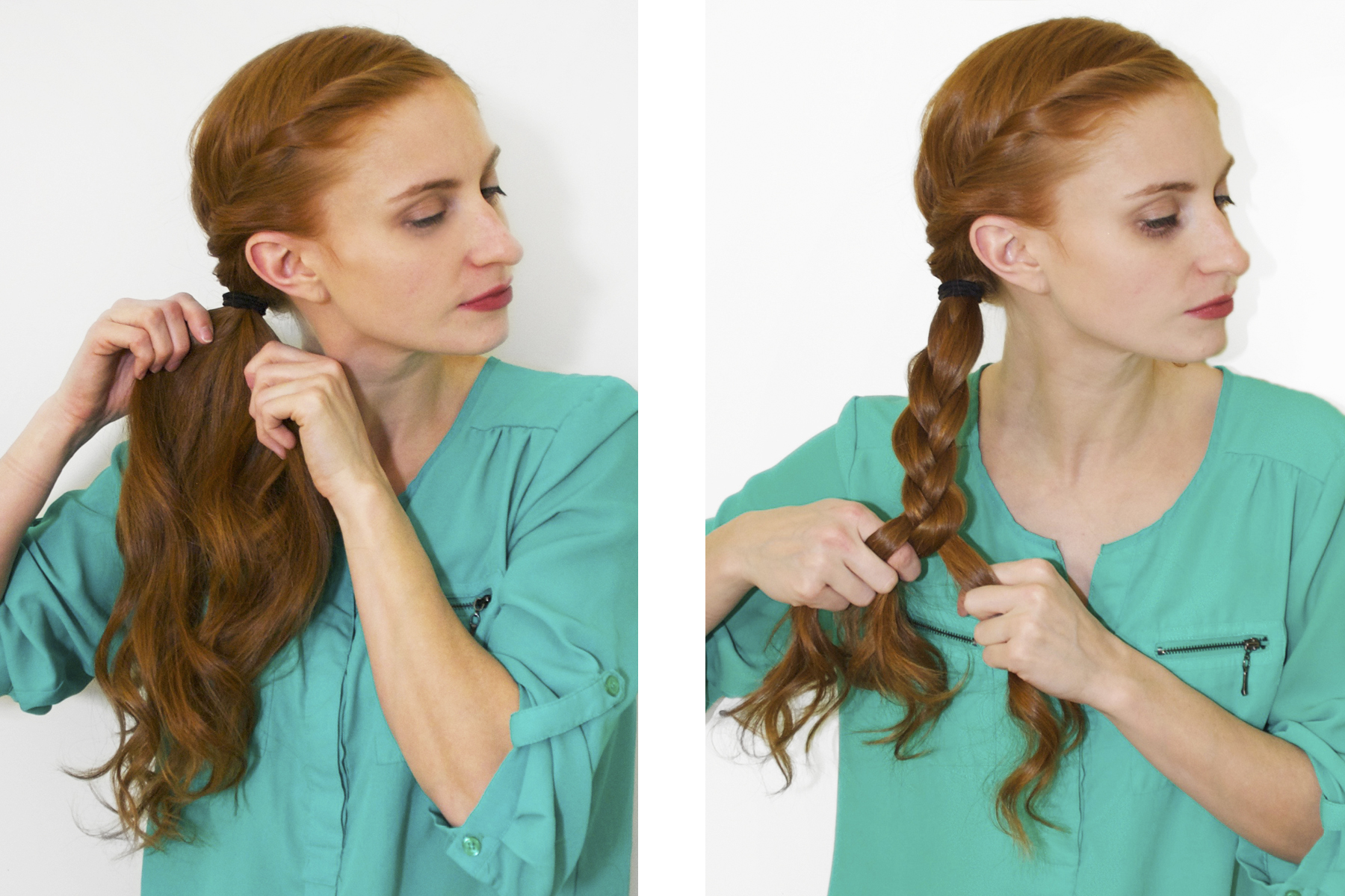 Redhead braiding a side pony tail in green shirt