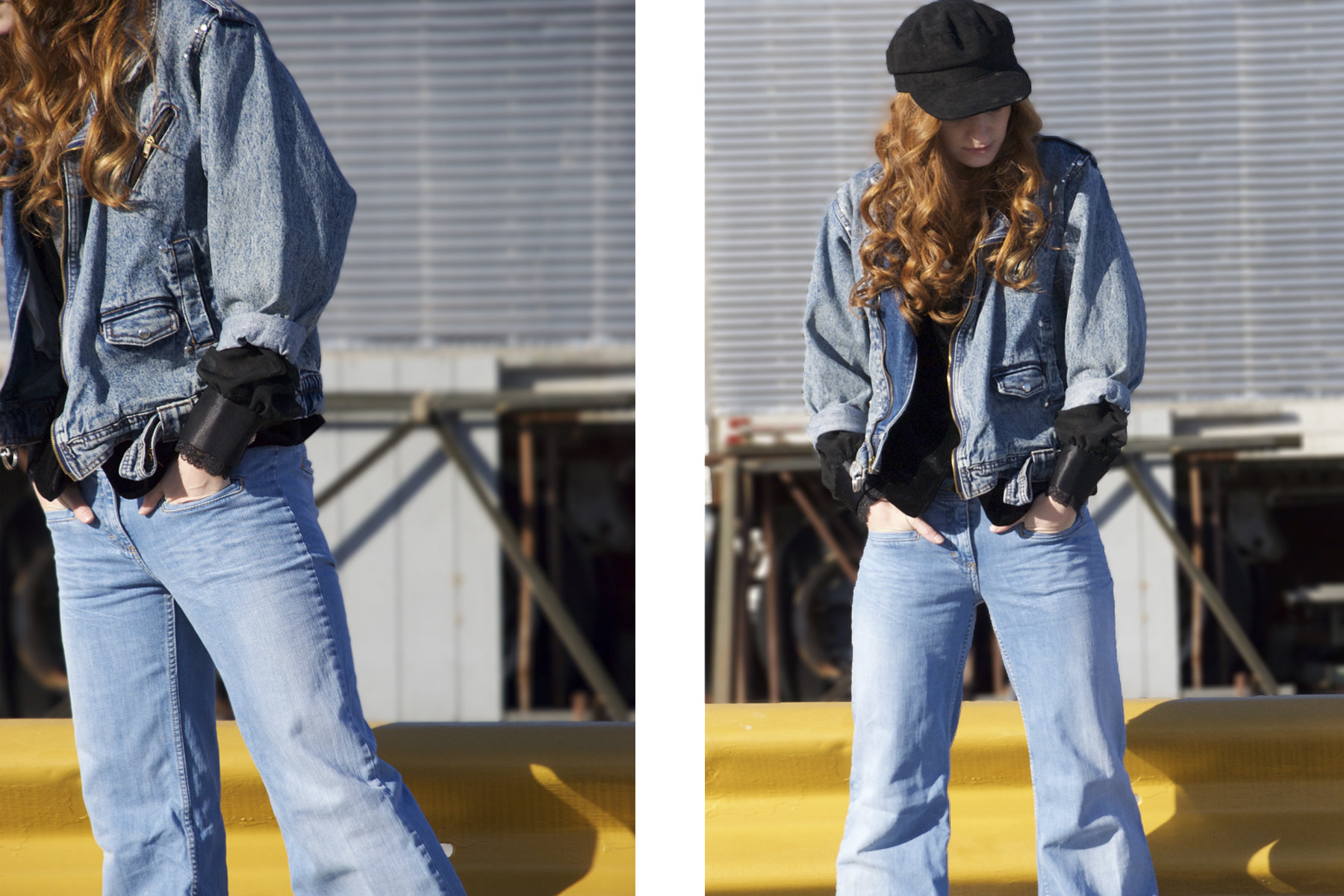 Redhead in Jean jacket and black hat by train tracks