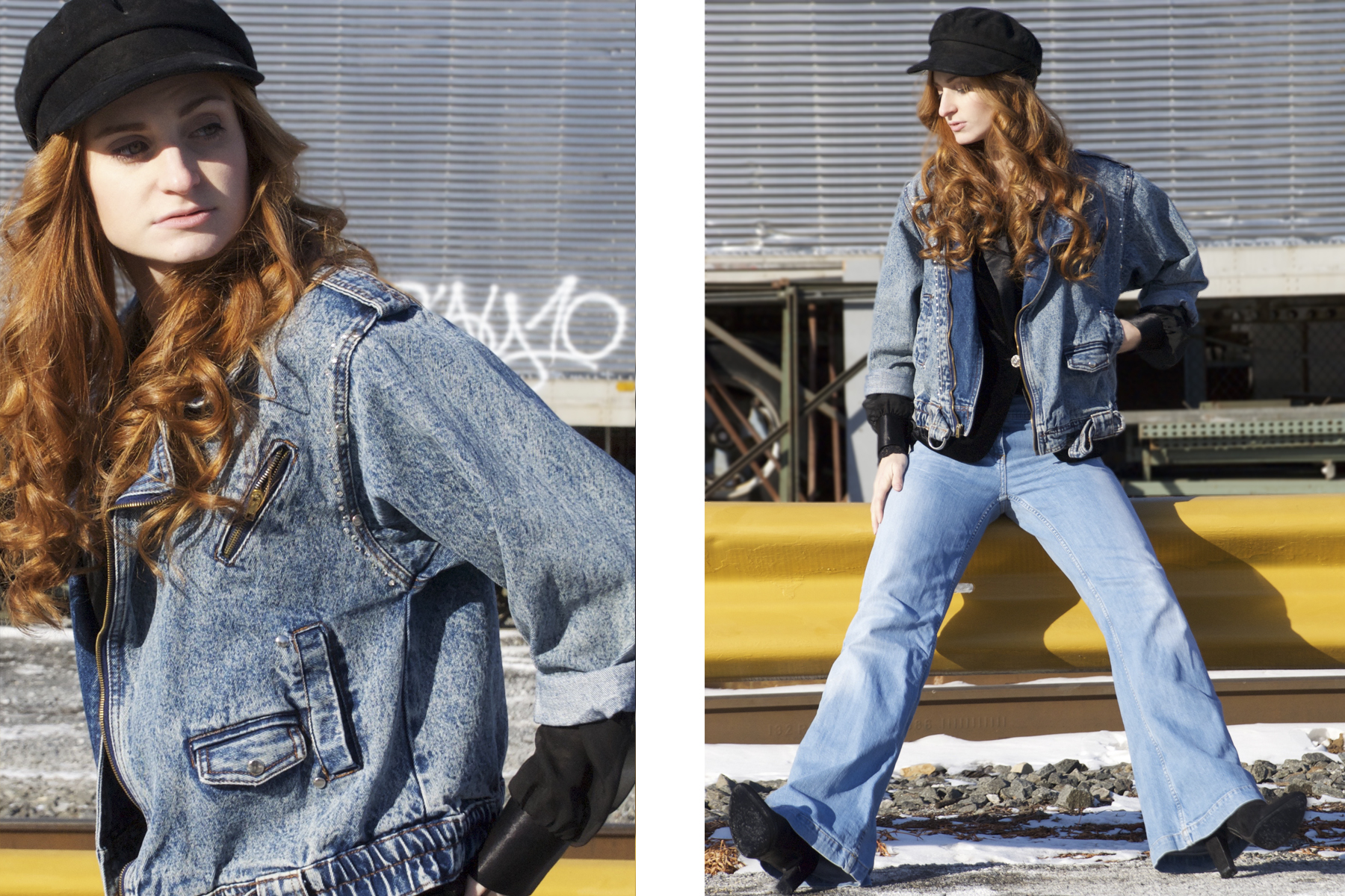 Redhead girl in jean jacket and hat by train tracks