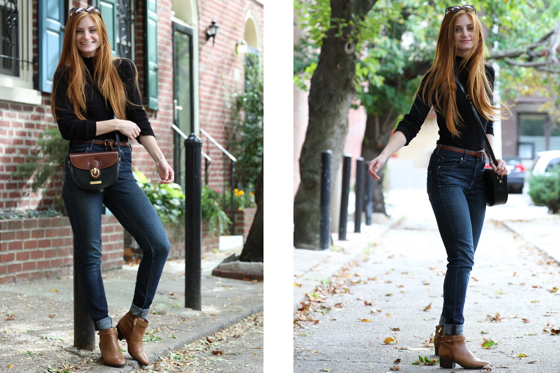 Redhead girl posing for photo on cobblestone road