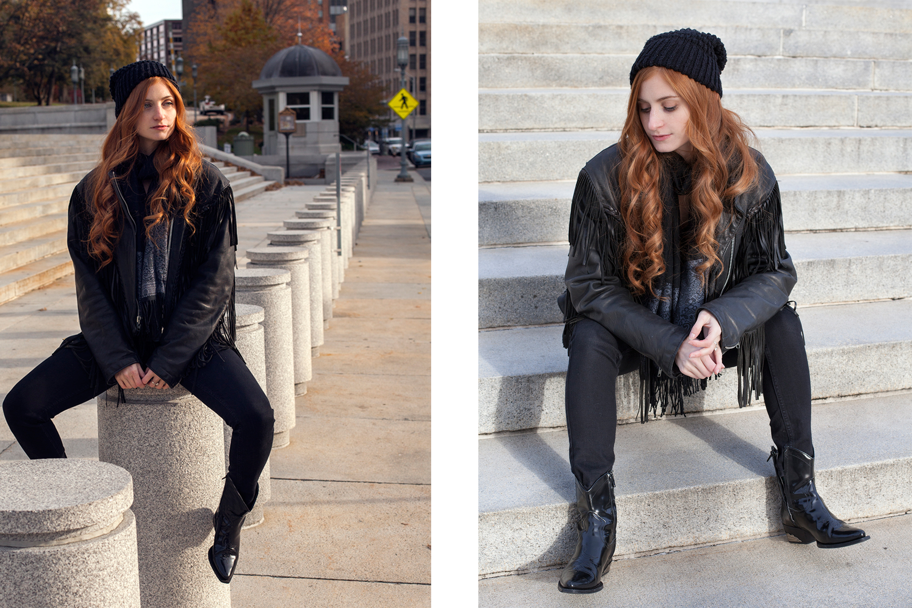 Redhead girl looking off to side and sitting in leather jacket