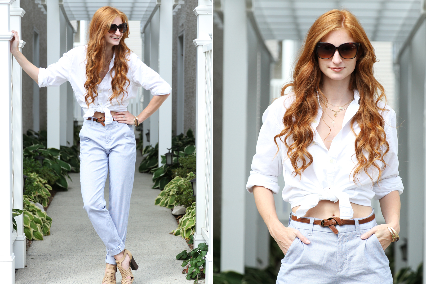 Redhead girl smiling in white shirt, blue pants, and sunglasses