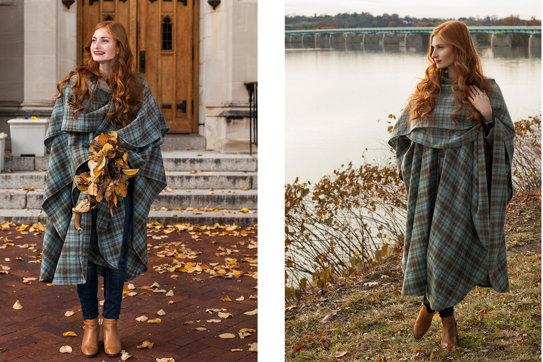 redhead girl in blue and green poncho with leaves