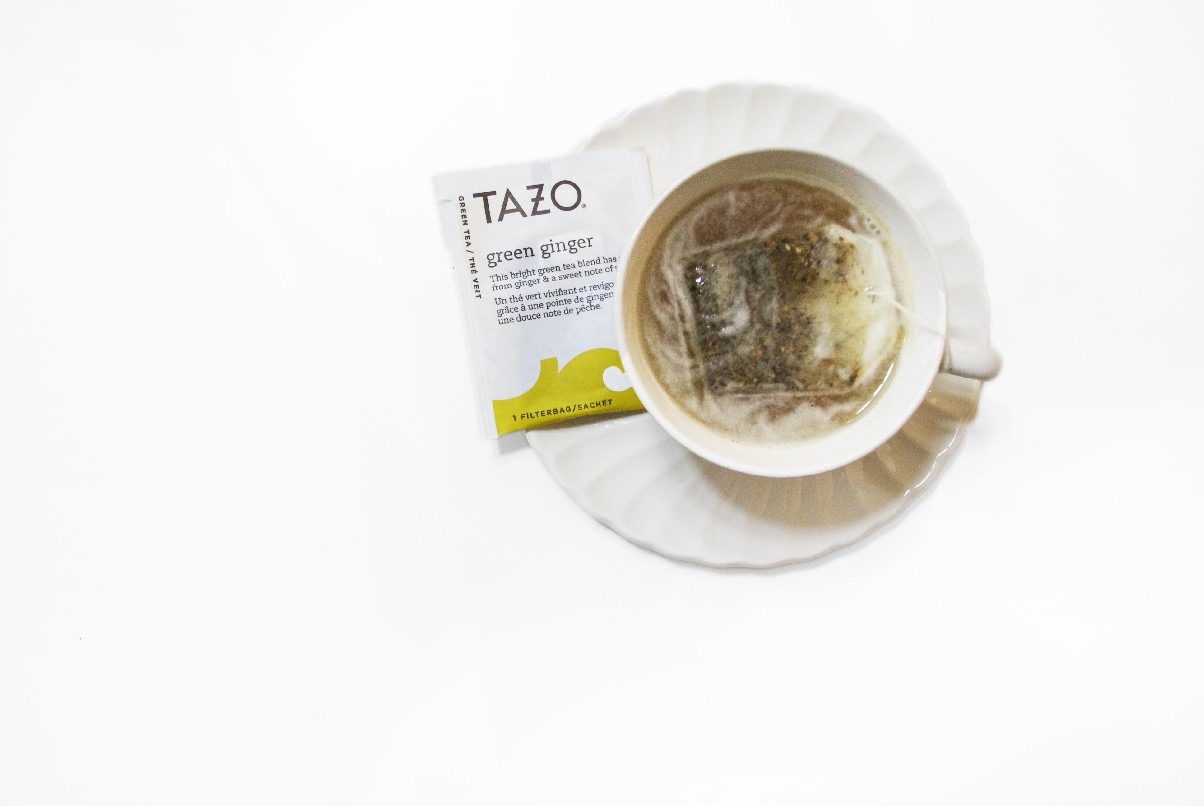 Tazo green ginger tea in tea cup