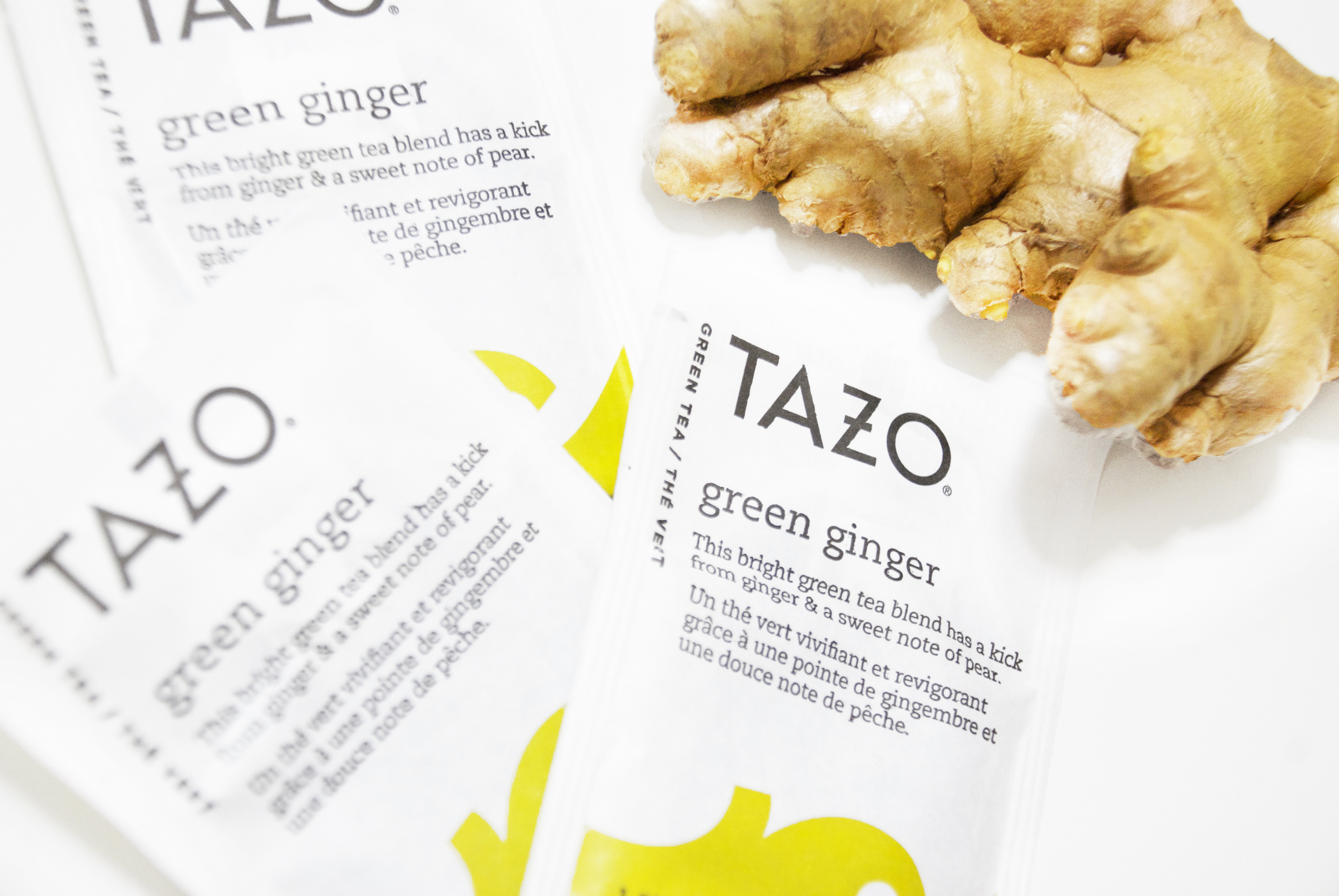 TAZO green ginger tea packets with ginger root