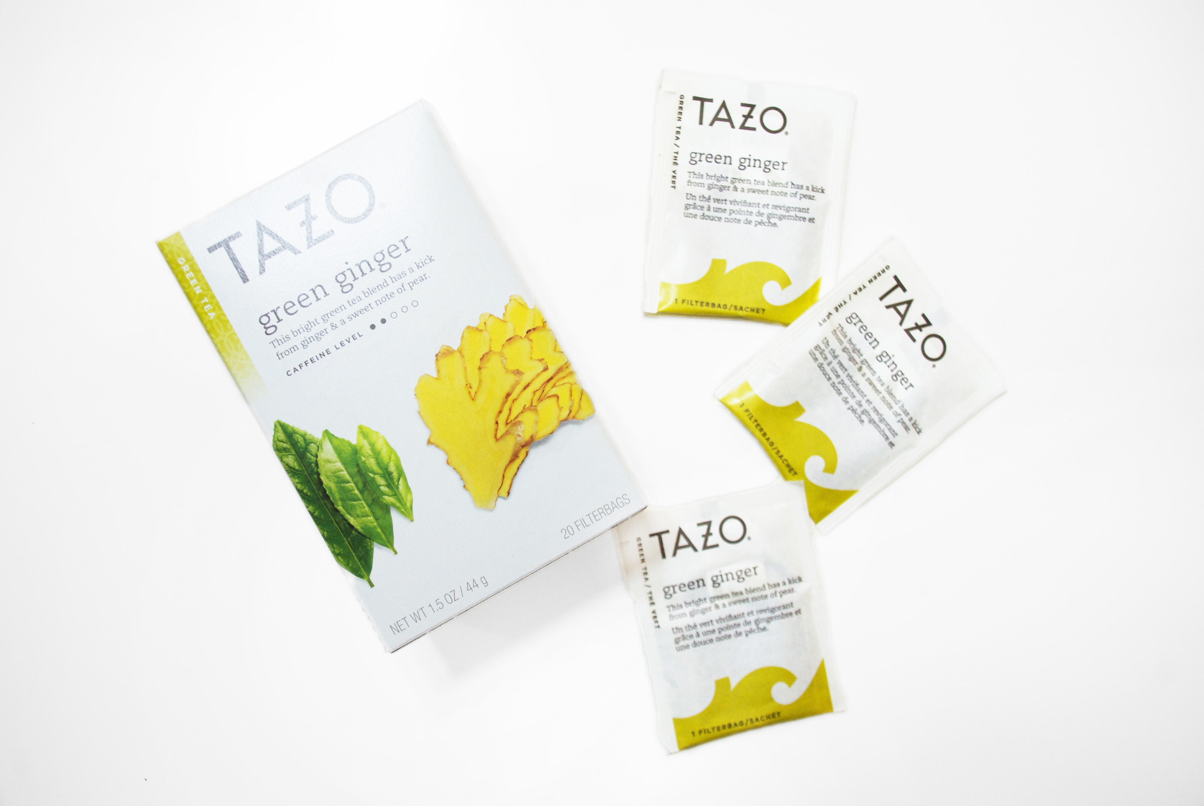 TAZO green ginger tea packets with box