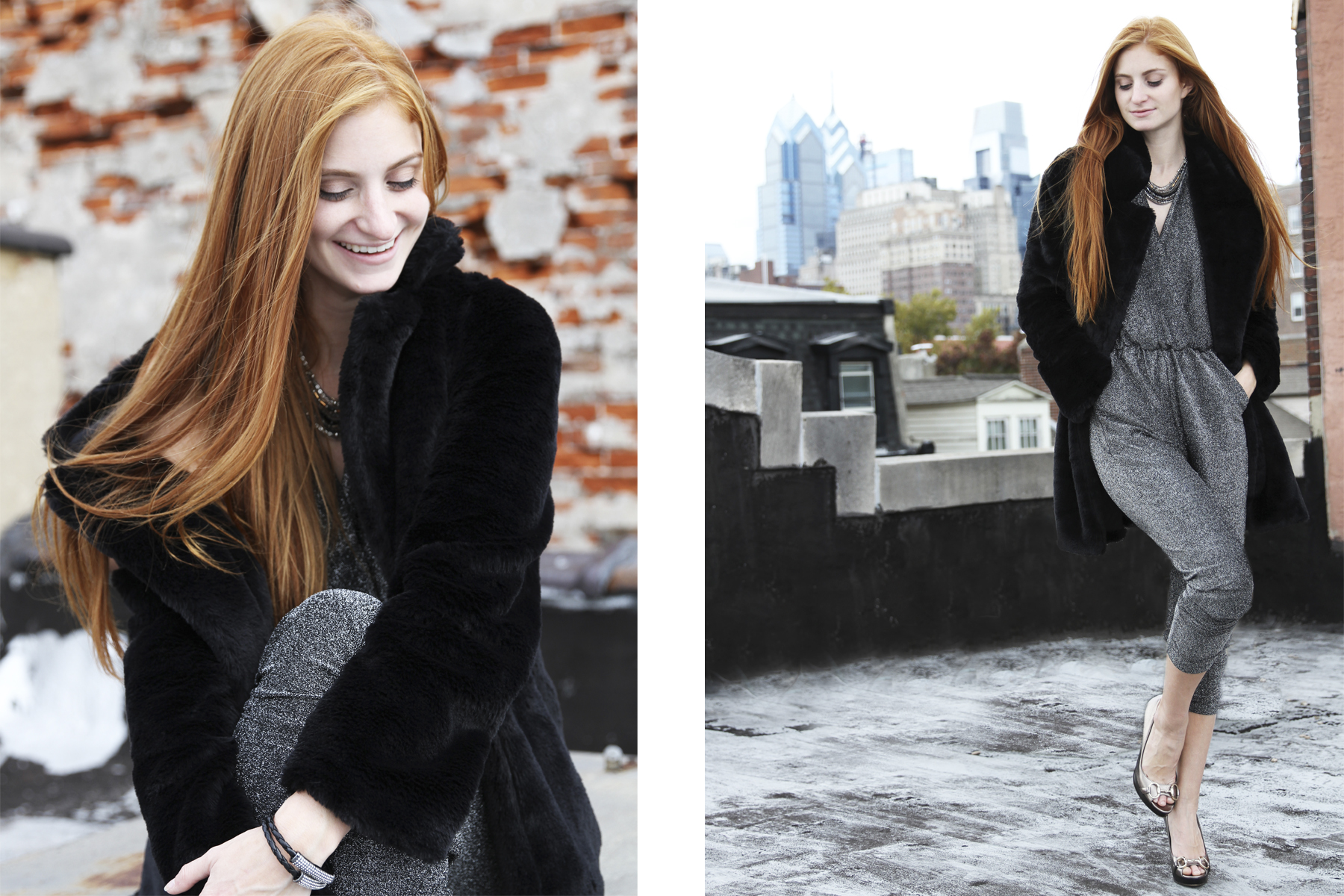 Redhead girl in spakly jumper and black fur coat on roof