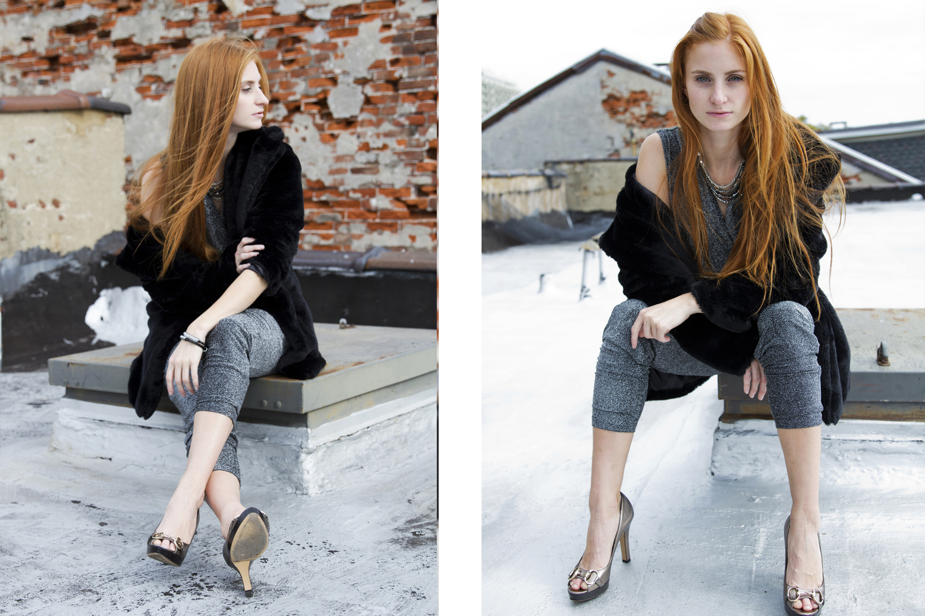 Redhead in jumper and black coat sitting on roof