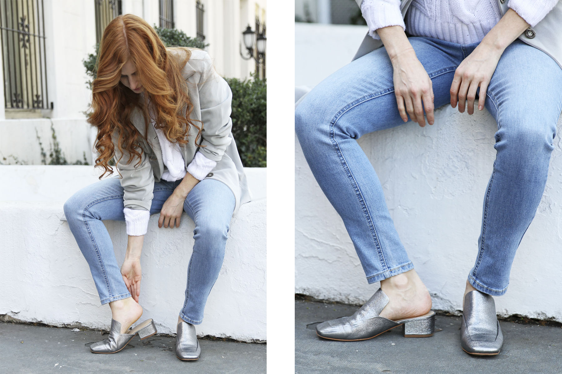 Marc Fisher LTD Lailey Silver Slingbacks on Erin Leigh Blogger Shes Red Haute