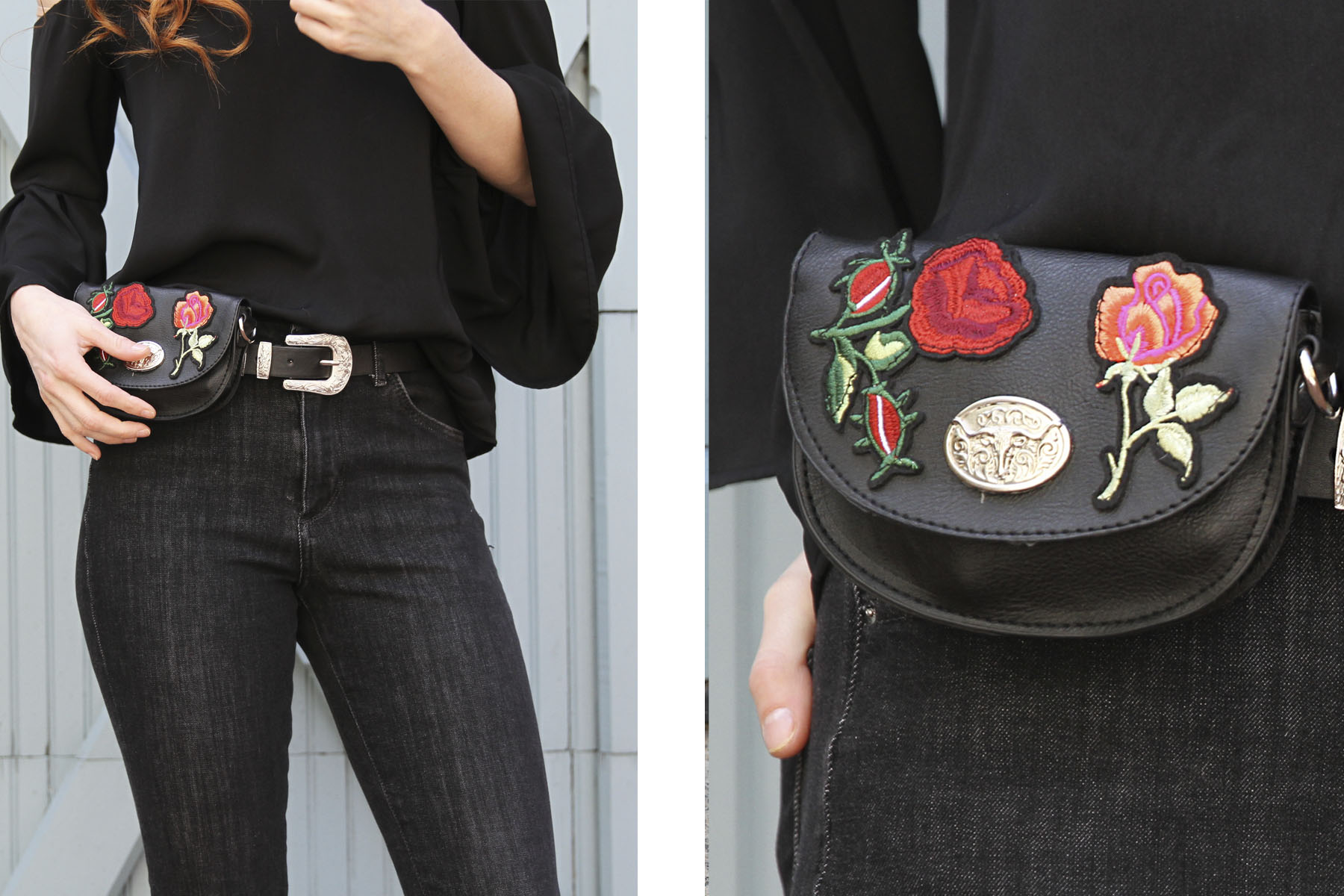 Nasty Gal floral belt bag - Erin Leigh Laid back in all black blog on She's Red Haute