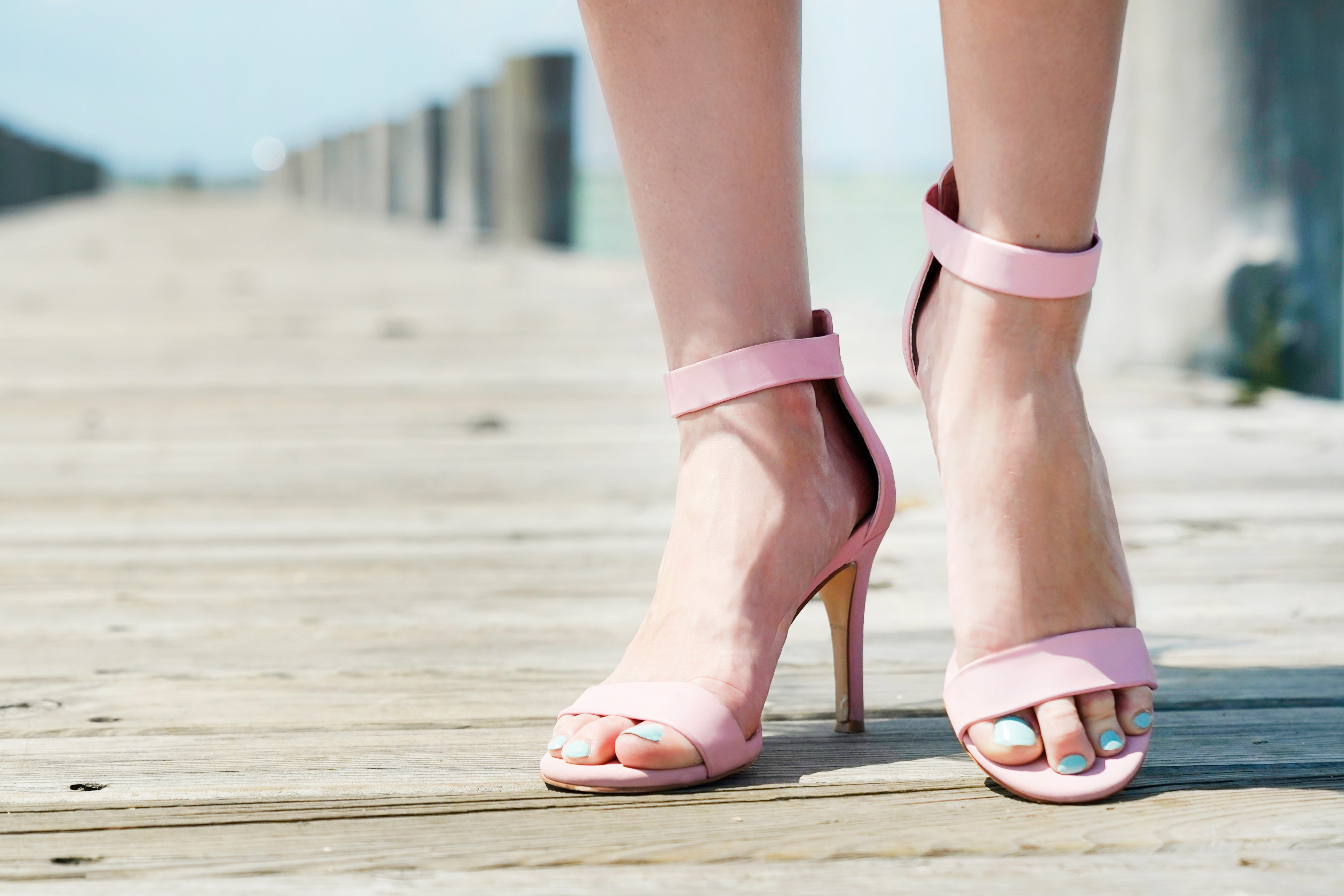 Pink Steve Madden Heels on a dock Romantic look hint floral She's Red Haute