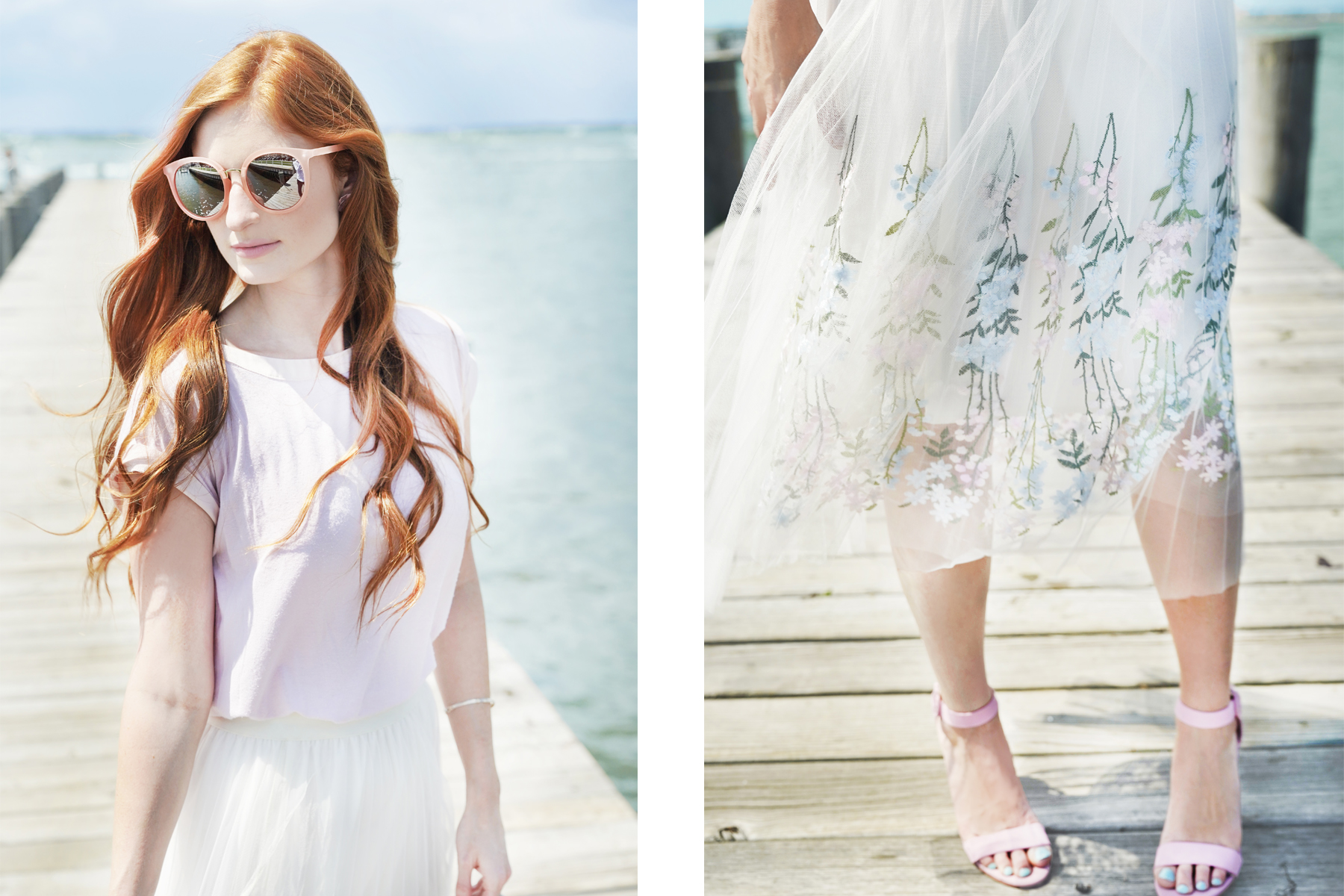 Erin Leigh She's Red Haute Romantic look hint floral wearing ivory floral skirt and pink shirt on a dock