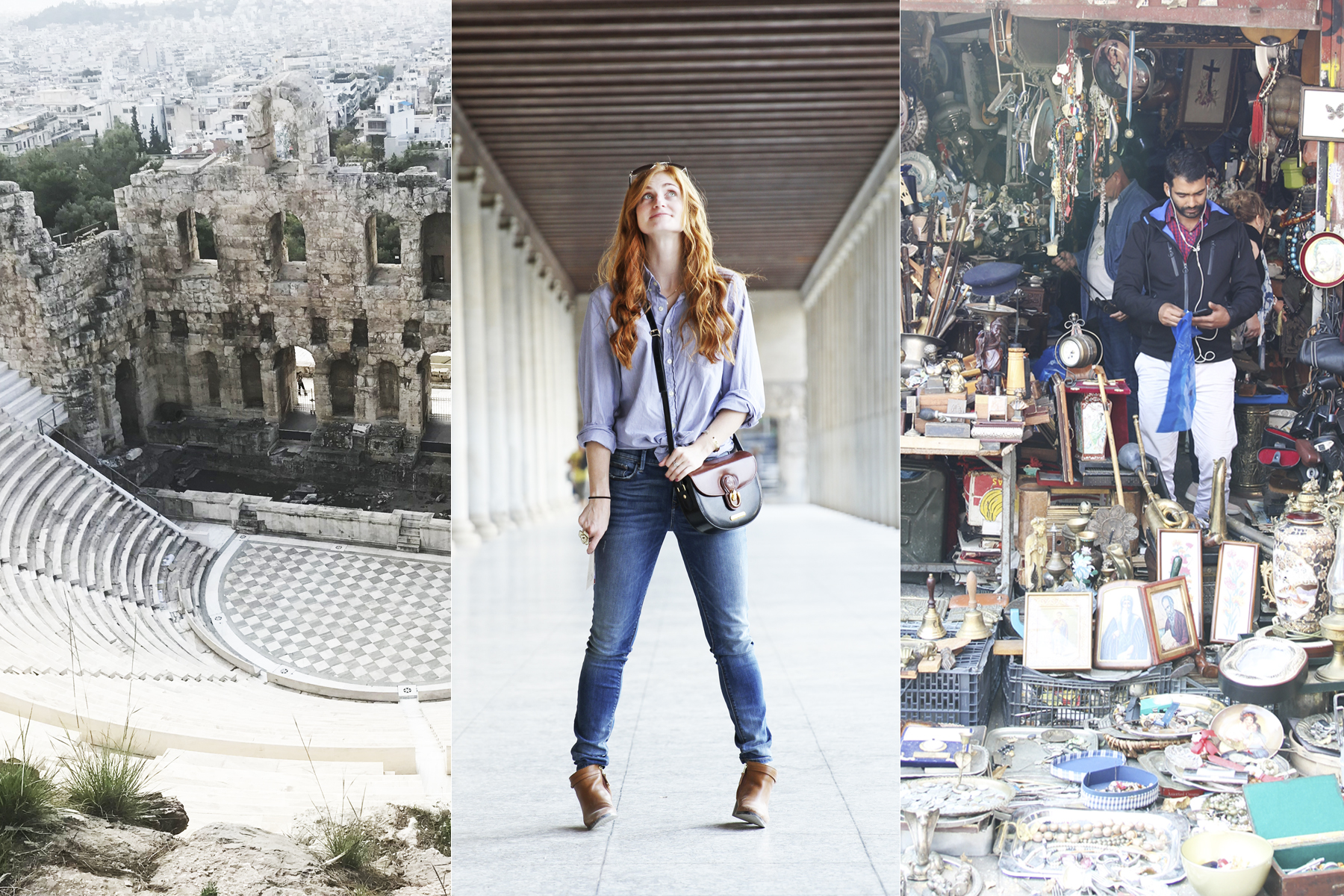 Theatre in Greece, jeans outfit with blue top, Vintage shop in Athens