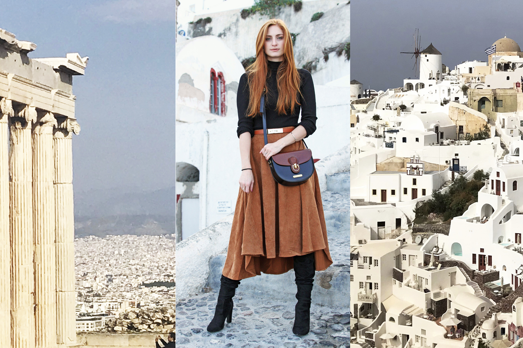 Athens, greece, acropolis, outfit with brown skirt and black top, Santorini white houses,