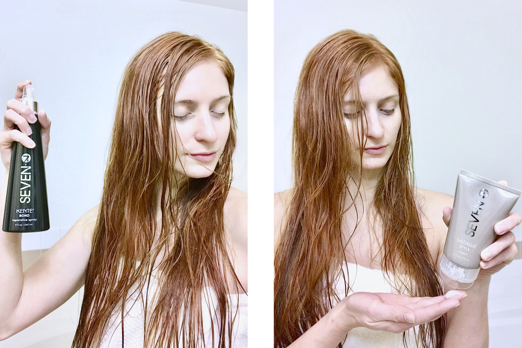 side by side of Erin Leigh of she's red haute using Seven hair care's reparative spray and style cream on red hair for a she's red haute blog