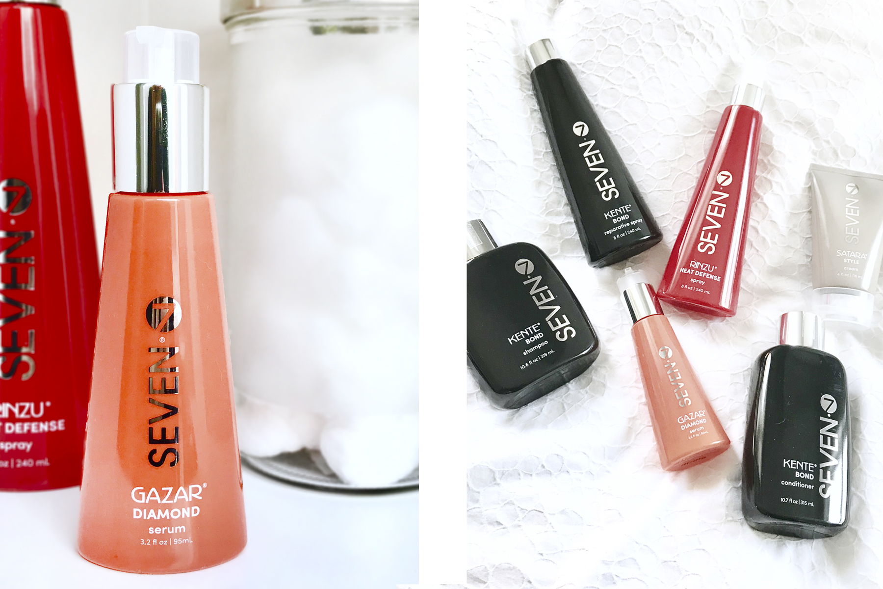 Side by side photo of Seven Hair care's Diamond Serum and a few different products, she's red haute
