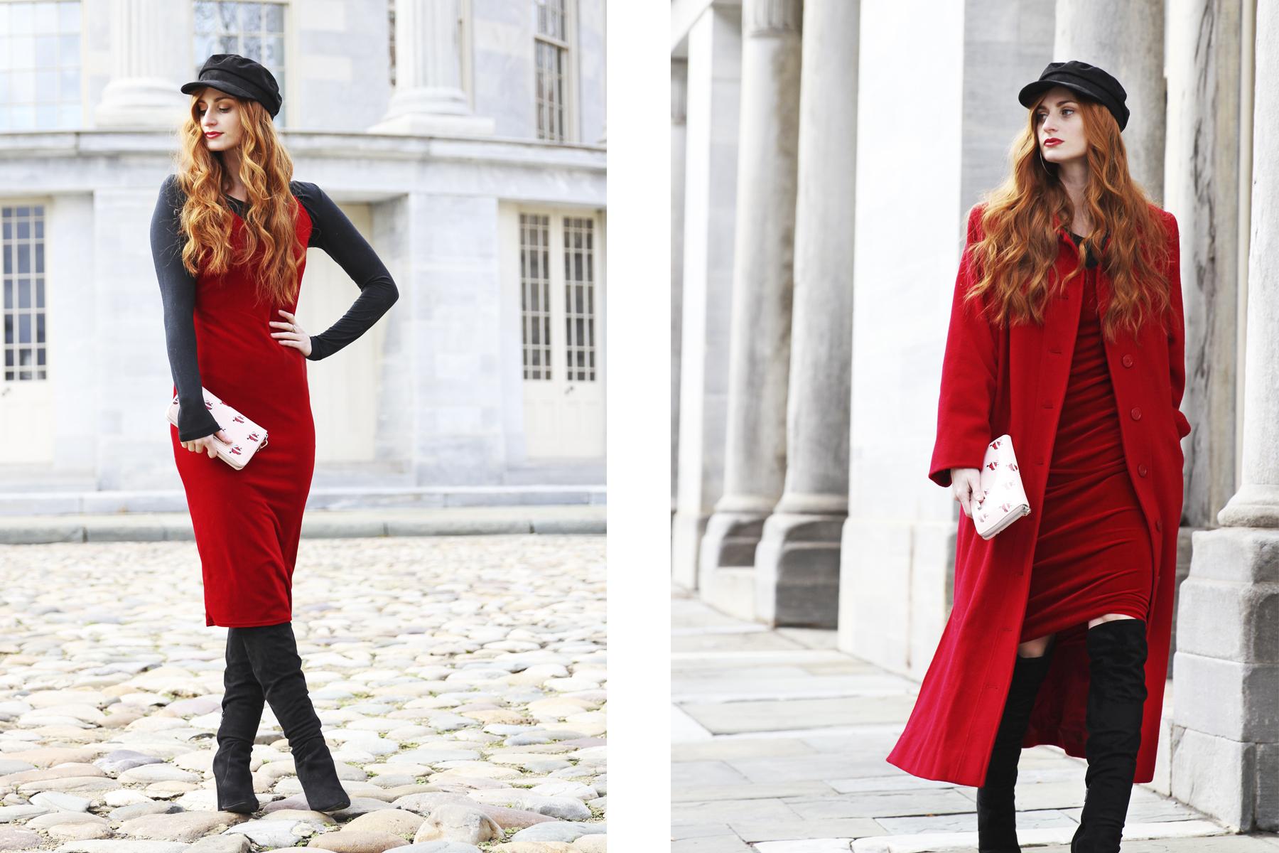 Erin Leigh, She's Red Haute wearing red velvet dress with red coat