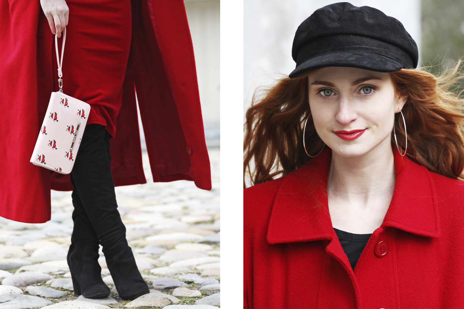 Erin Leigh She's Red Haute wearing red dress and red coat