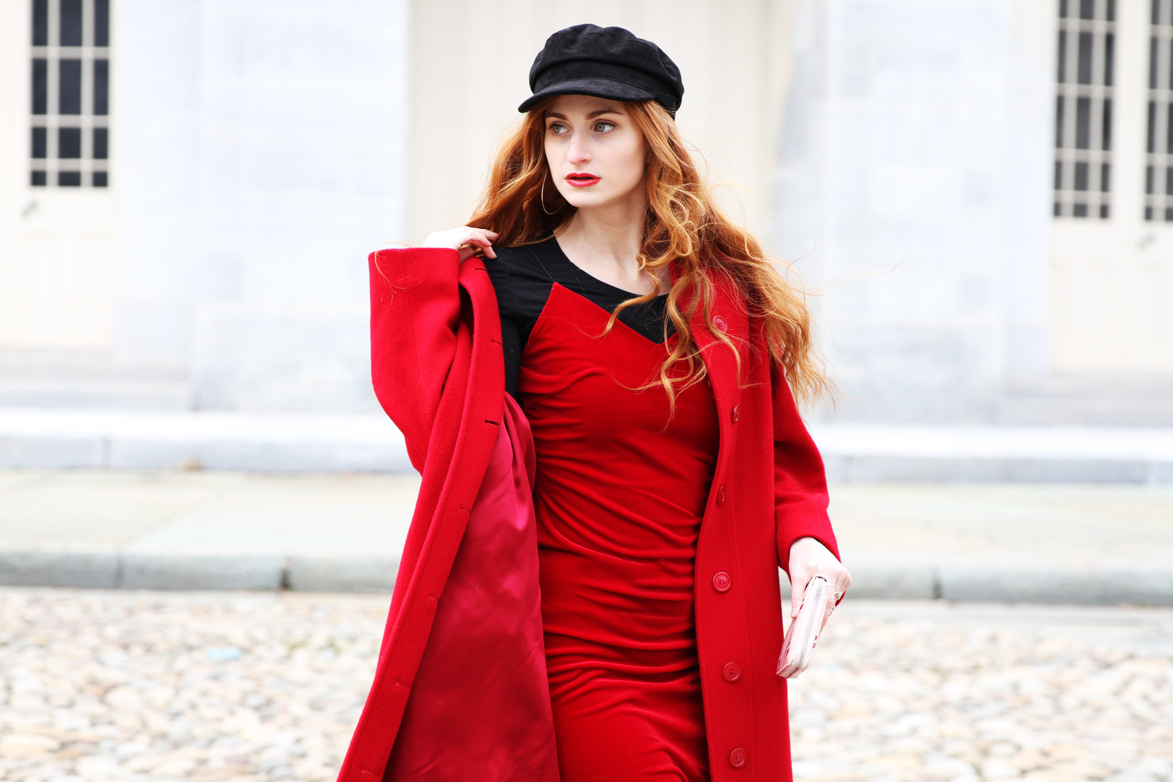 Erin Leigh, She's Red Haute wearing all red outfit