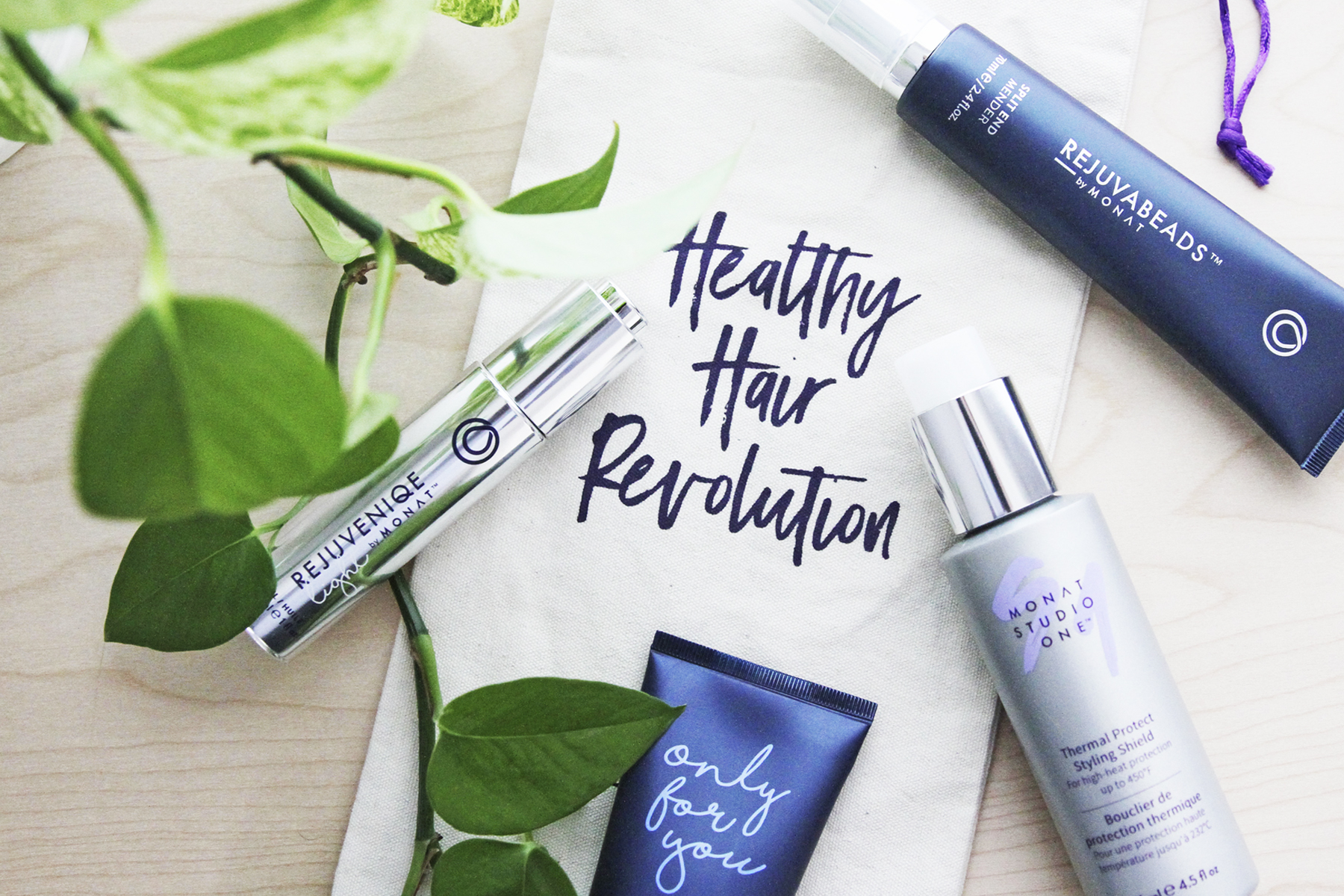MONAT products for giveaway - she's red haute