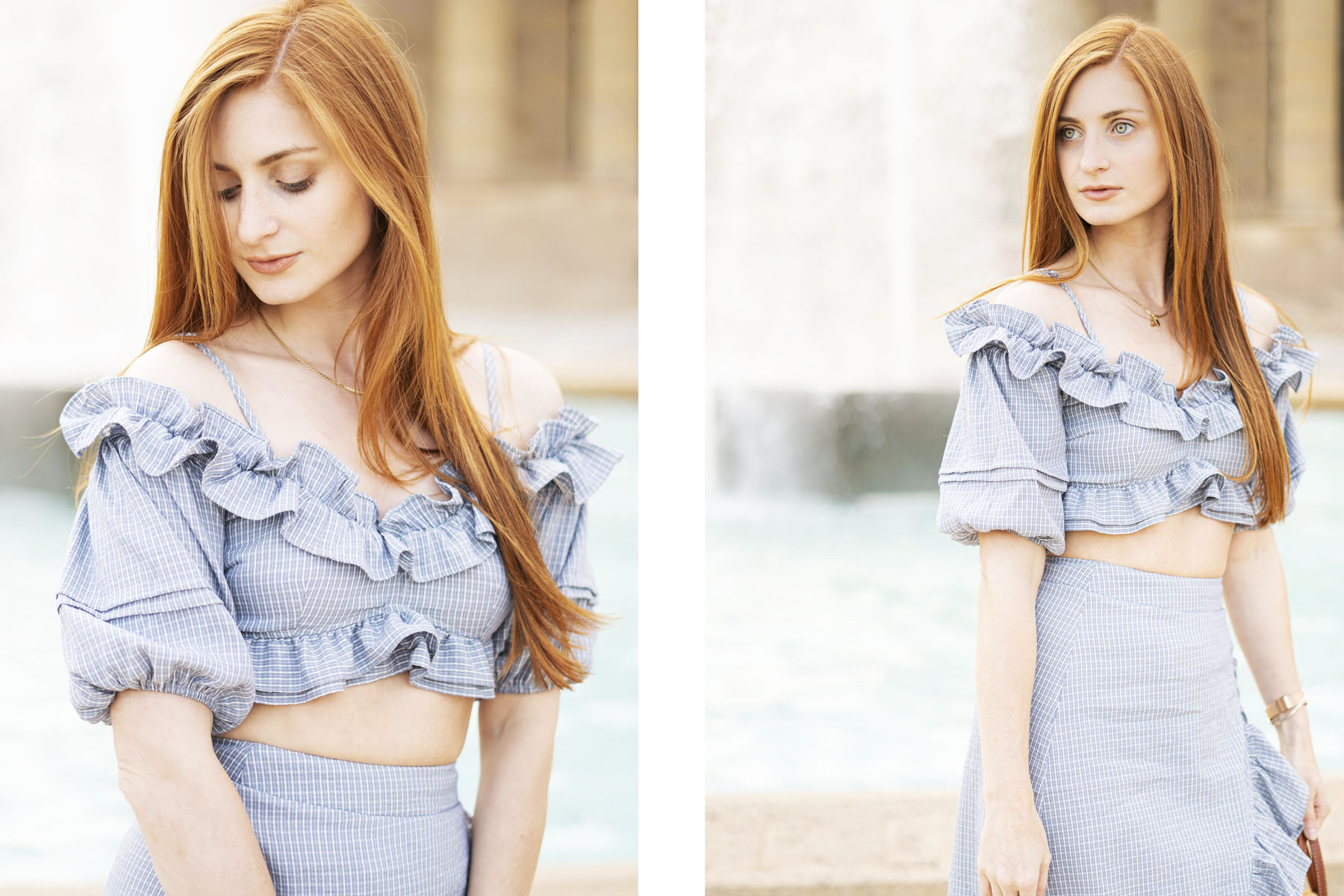 Ruffles, Erin Leigh of She's Red Haute redhead wearing blue ruffle outfit