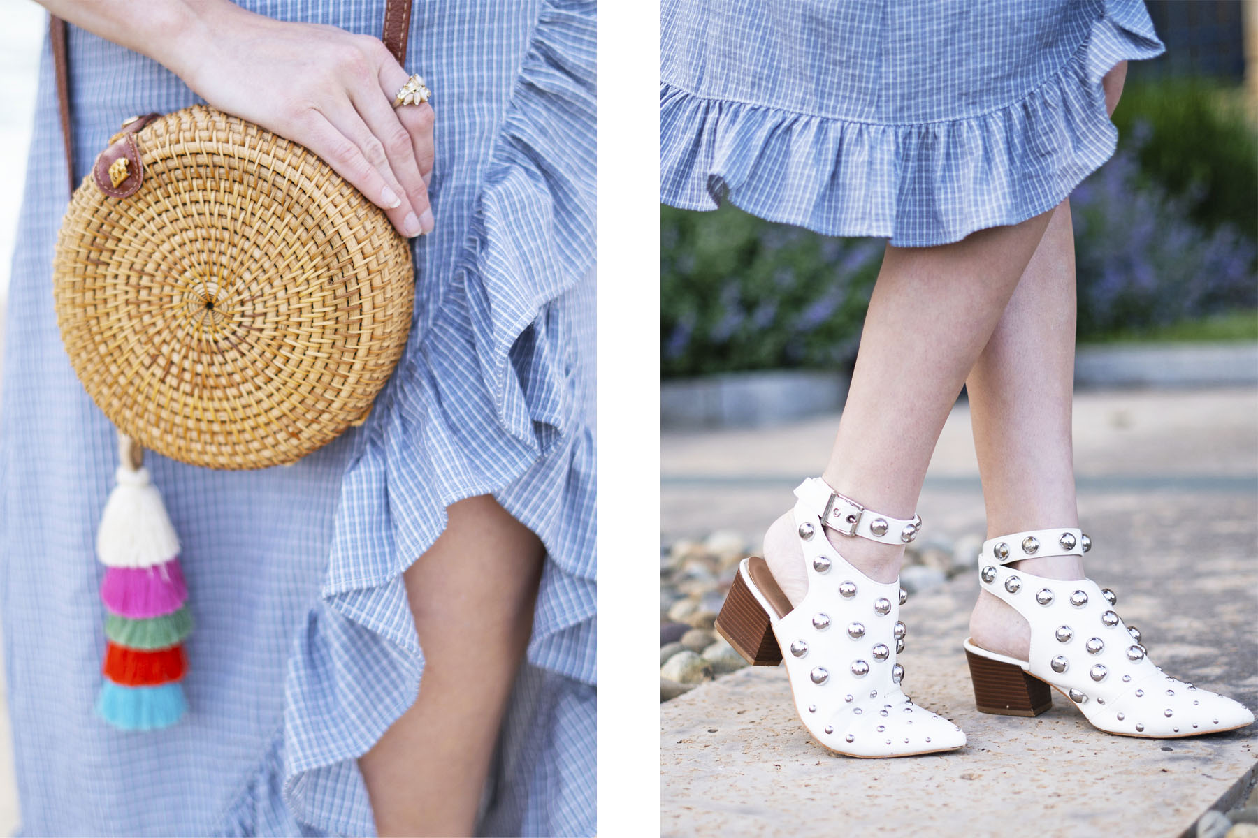 Ruffles,Rattan circle bag and white booties with blue ruffle skirt