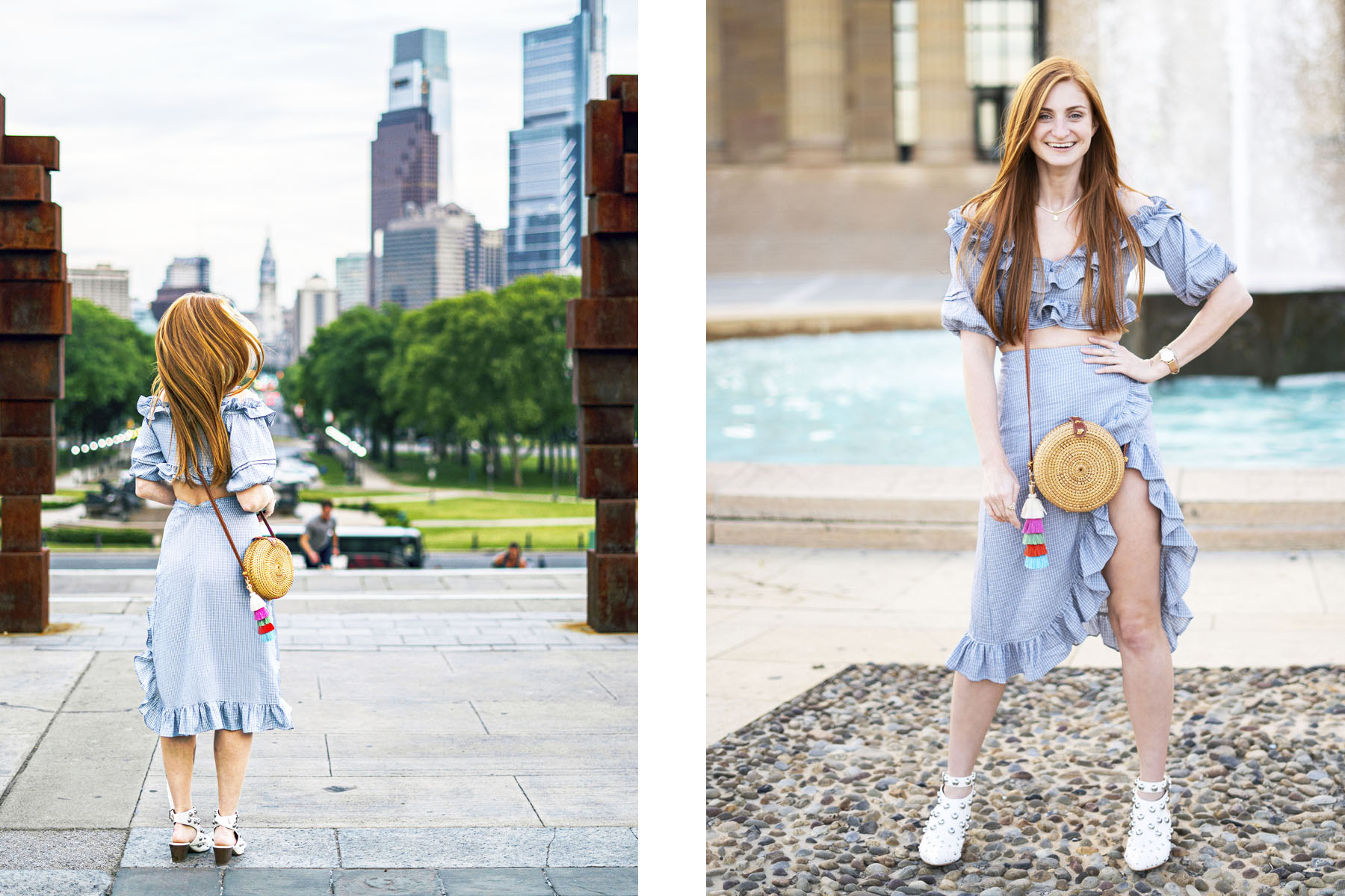 Ruffles,Erin Leigh of She's Red Haute redhead wearing blue ruffle outfit and brown circle bag looking out at Philly skyline