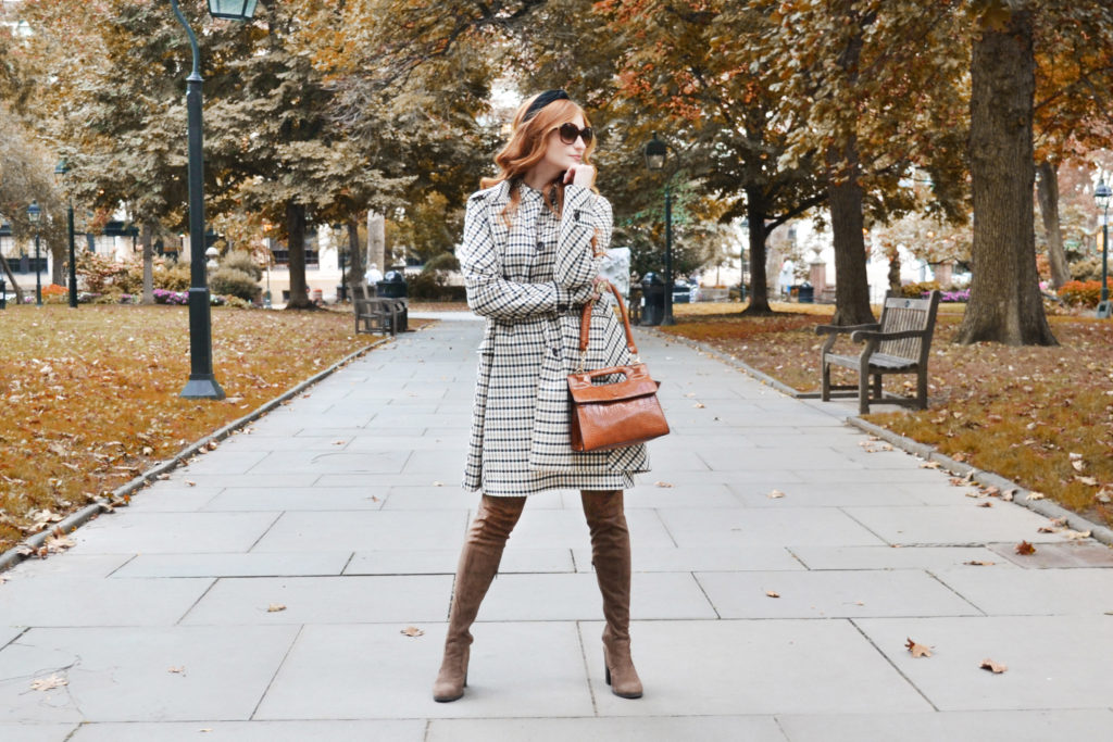 Redhead Erin of She's Red Haute posing and wearing Ann Taylor's Fall 2019 Fall Plaid Collection in a park