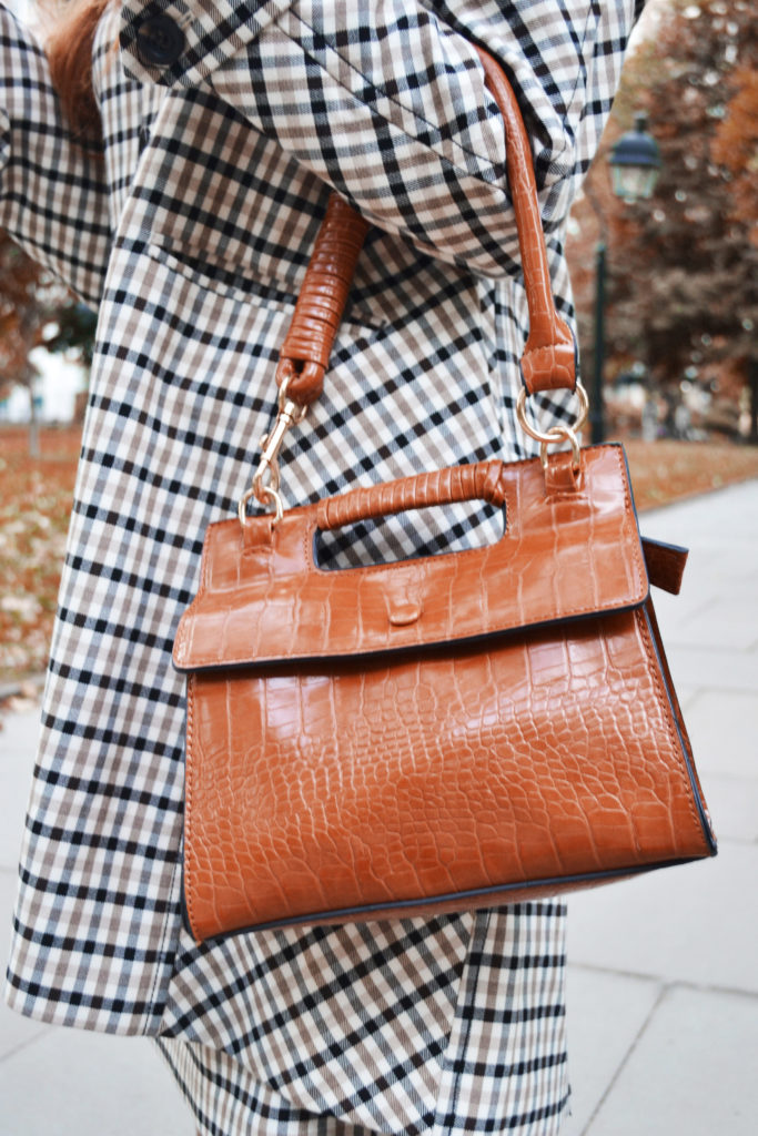 Nasty Gal cognac bag with plaid jacket