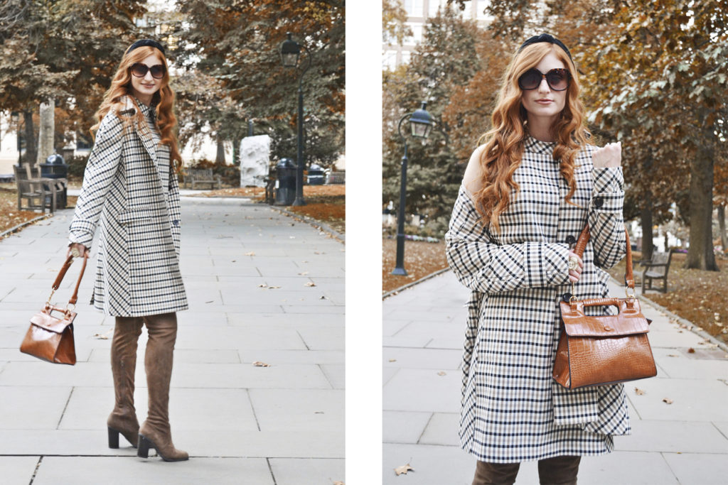 Redhead, She's red haute in a park in the fall wearing Ann Taylor plaid