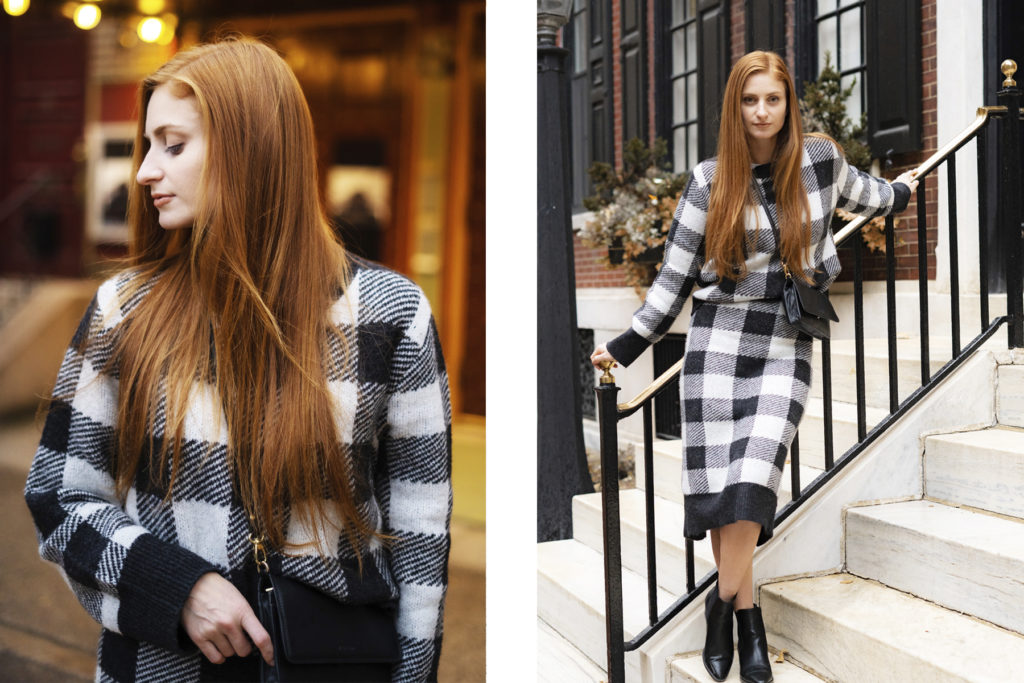 Redhead Erin of She's Red Haute wearing matching set on steps