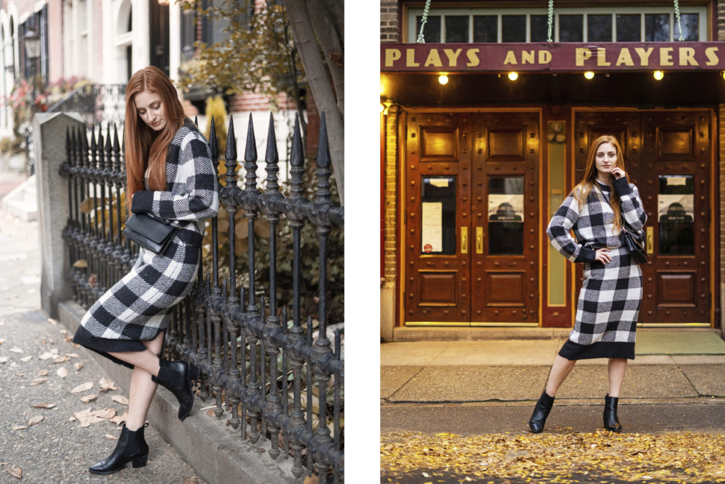 Redhead Erin of She's Red Haute wearing a H&M matching set standing in front of a theatre