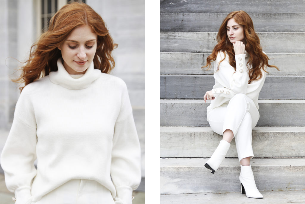 She's Red Haute Winter Whites, All white outfit on a redhead sitting on grey stairs