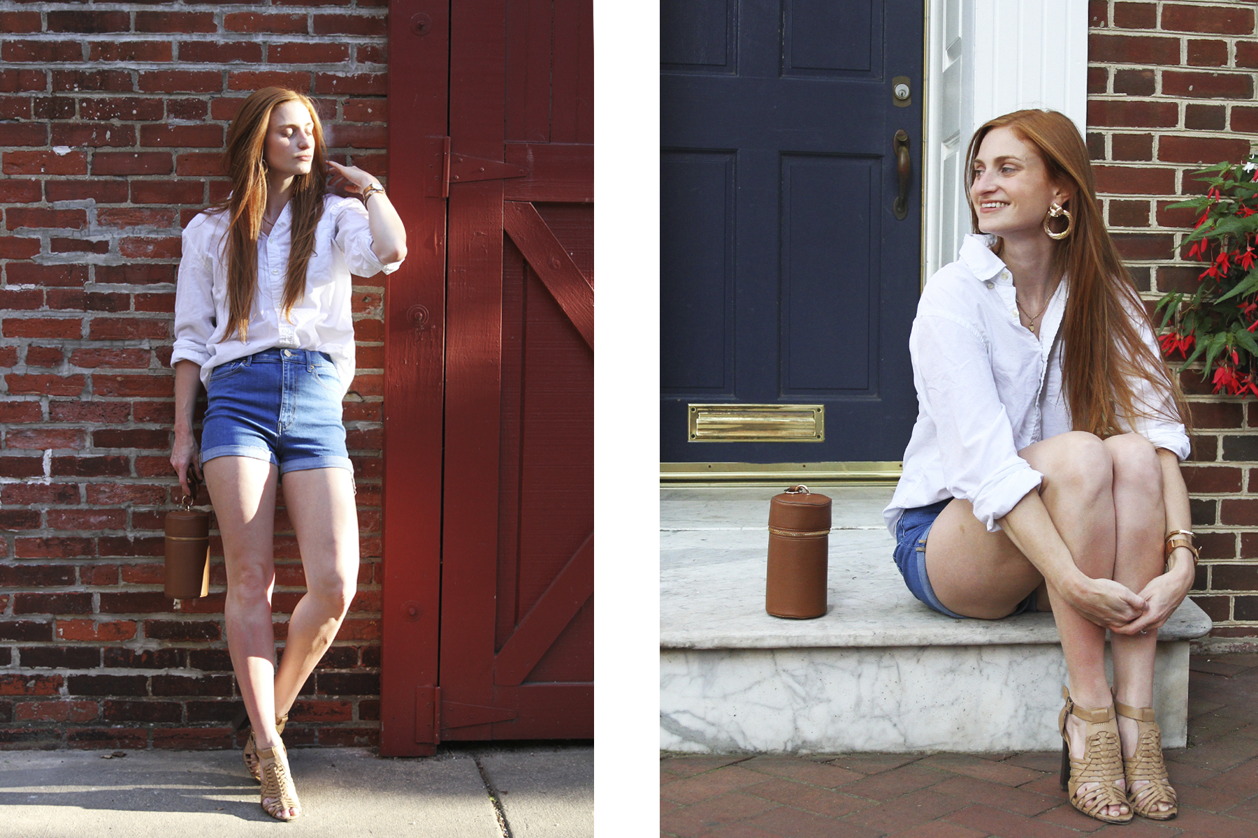Redhead wearing white top and denim shorts standing against brick, Erin Whitcomb, She's Red Haute.  Fourth of July outfit