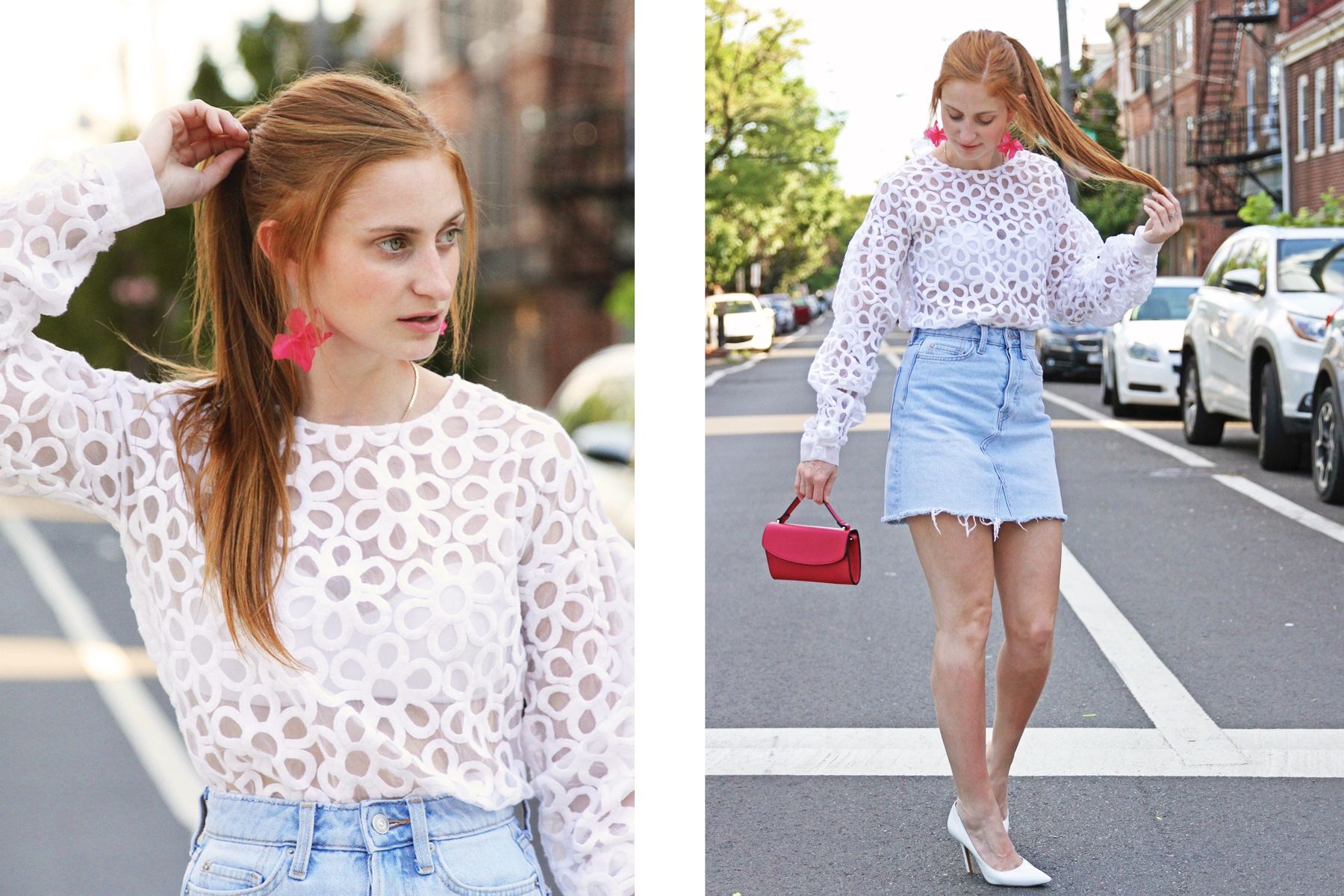 Redhead Erin Whitcomb of She's Red Haute wearing a white illusion top with an H&M denim skirt. Fourth of July outfit for 2020