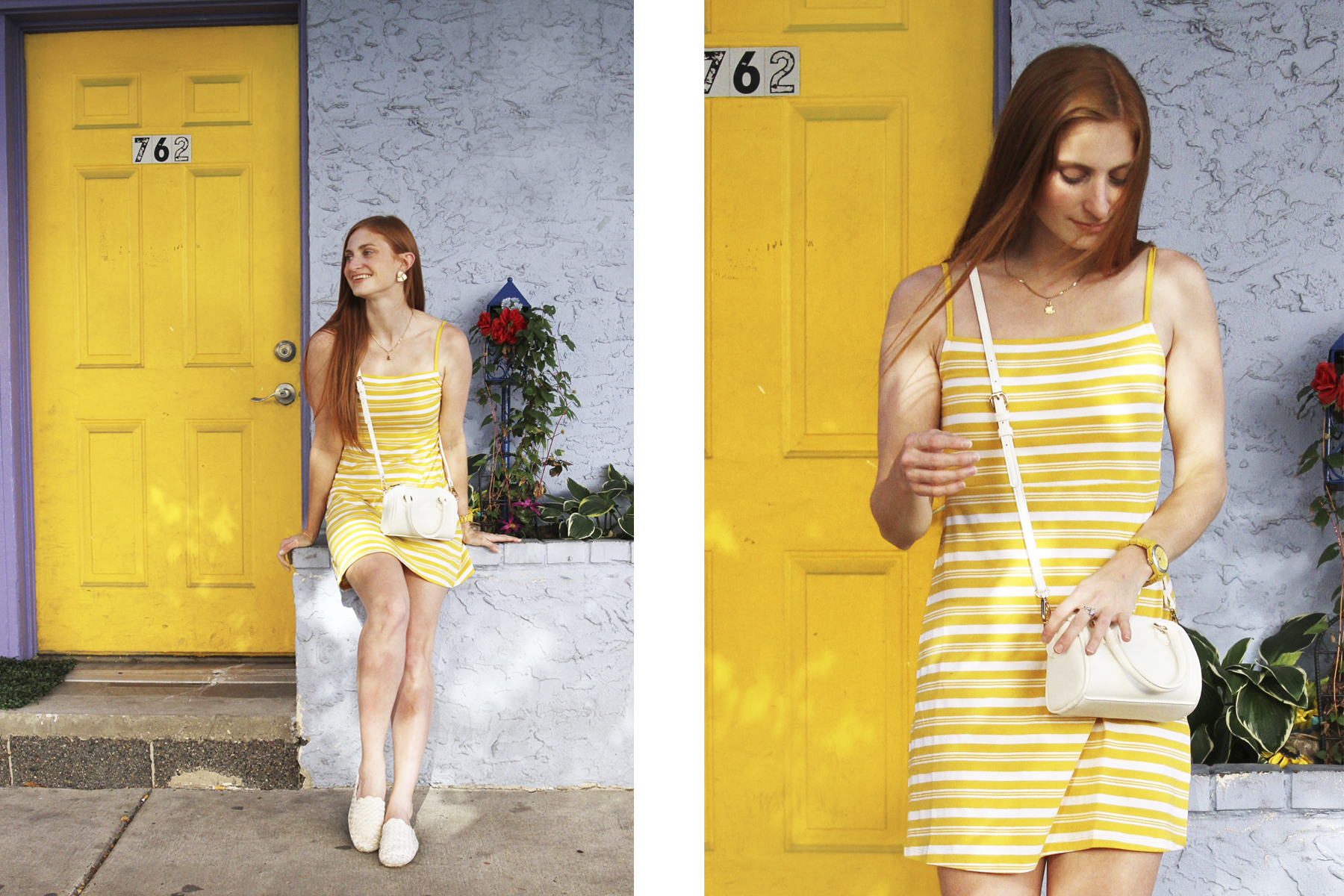 Redhead Erin Whitcomb of She's Red Haute wearing ASOS yellow and white striped dress with purple and yellow house background. Fourth of July outfit for 2020
