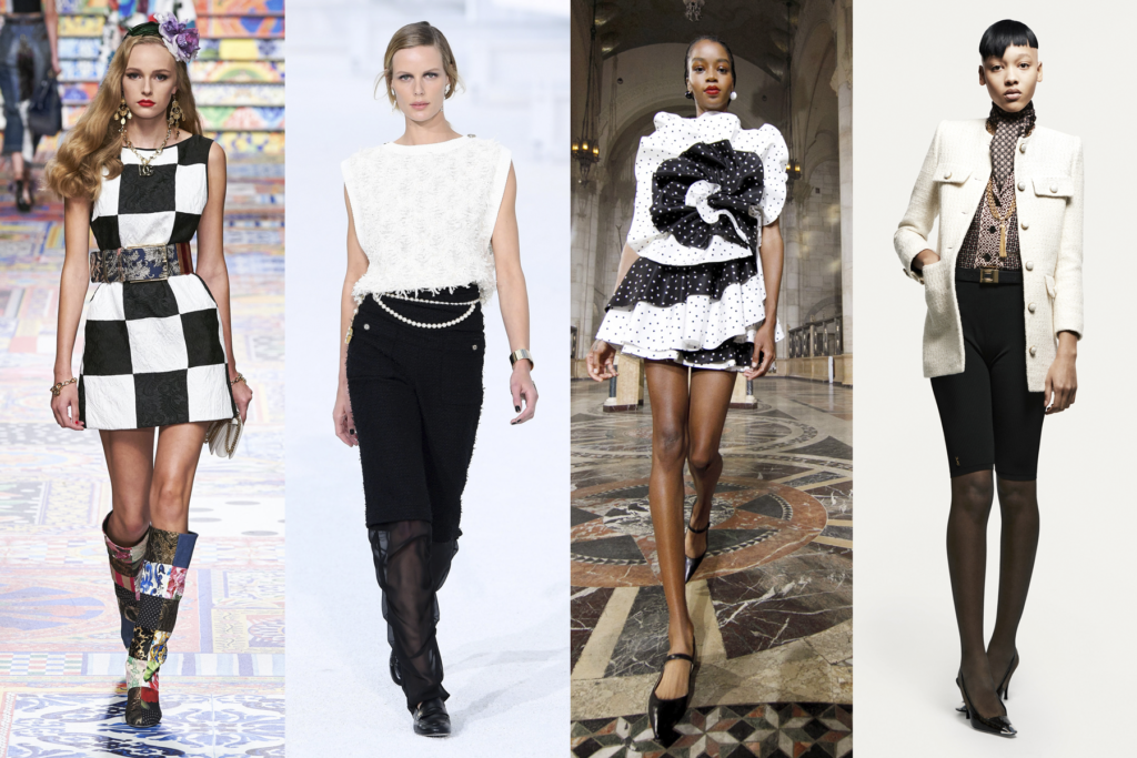 Four black and white outfits by Dolce & Gabanna, Chanel, Carolina Herrera, and Saint Laurent, featured on Five Fashion Trends of 2021 blog on She's Red Haute