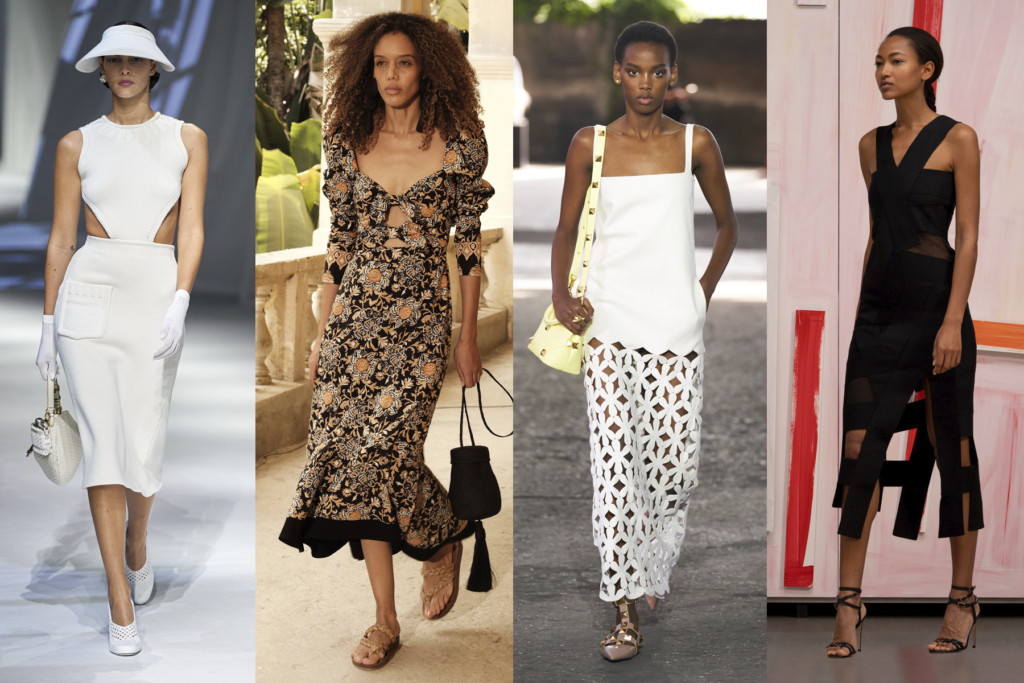 Four cutout outfits by Fendi, Johanna Ortiz, Valentino, and Akris, featured on Five Fashion Trends of 2021 blog on She's Red Haute