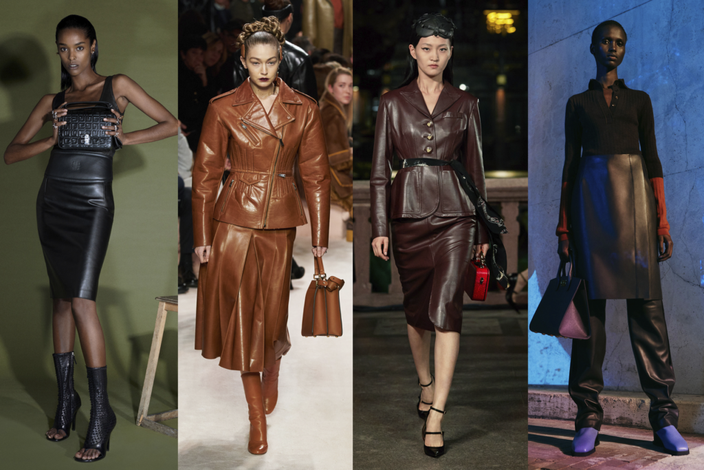 Four Faux Leather outfits by Givenchy, Fendi, Lanvin, and Ferragamo, featured on Five Fashion Trends of 2021 blog on She's Red Haute