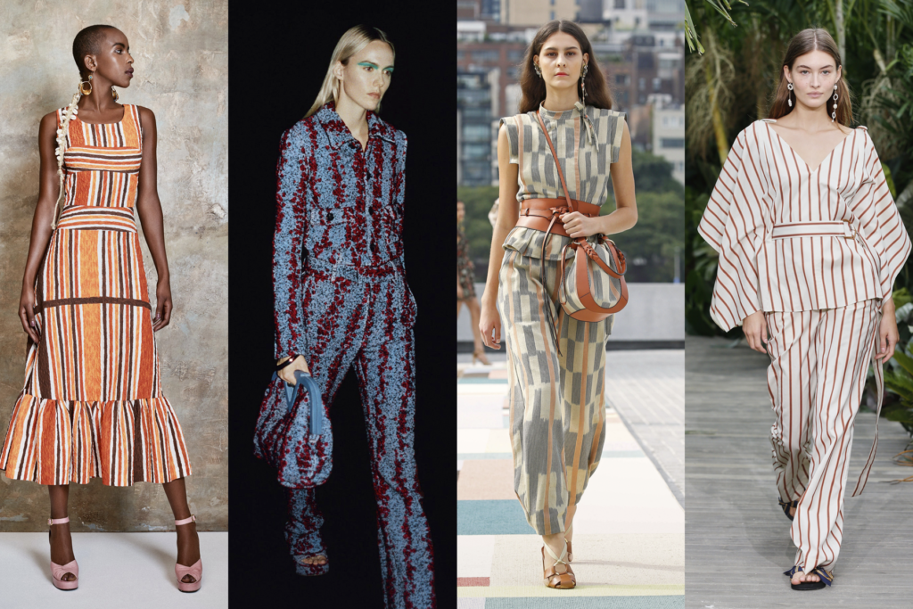 Four striped outfits by Duro Olowu, Bottega Veneta, Ulla Johnson, and Jason Wu, featured on Five Fashion Trends of 2021 blog on She's Red Haute