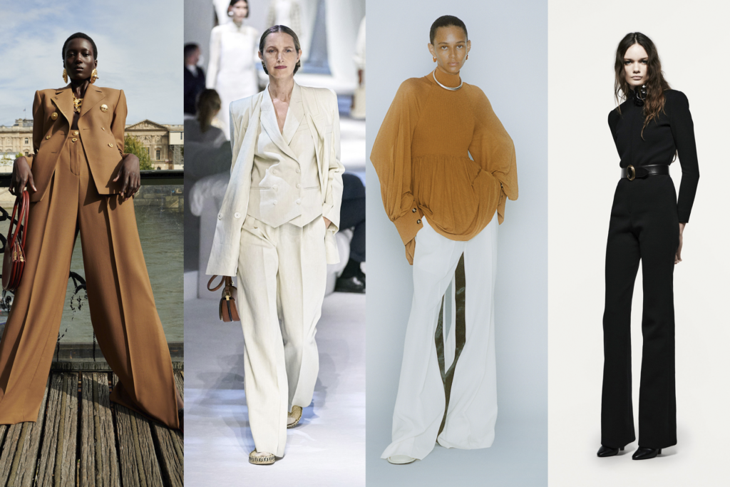Four wide leg outfits by Schiaparelli, Fendi, Proenza Schouler, and Saint Laurent, featured on Five Fashion Trends of 2021 blog on She's Red Haute
