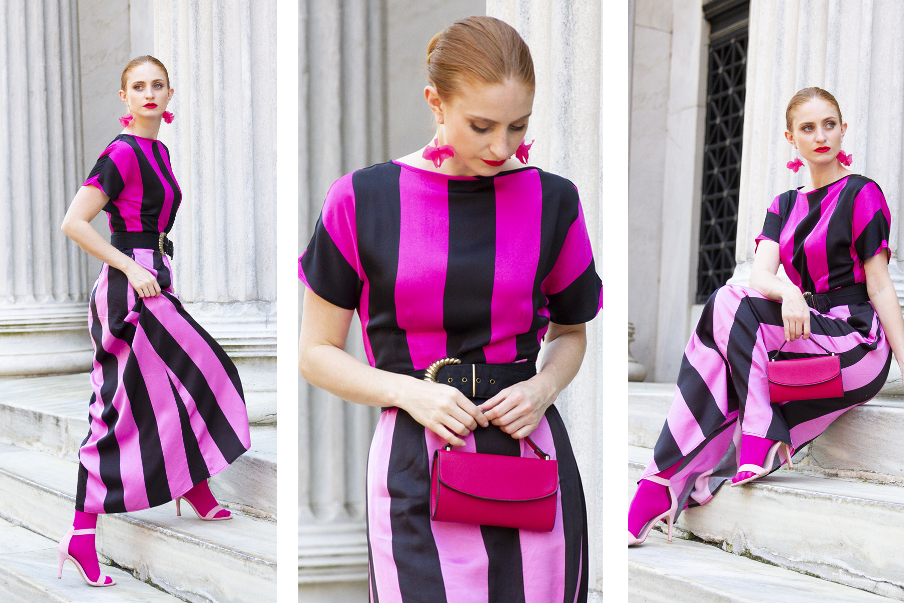 redhead wearing Pink and black Christopher John Rogers dress for Target, she's red haute