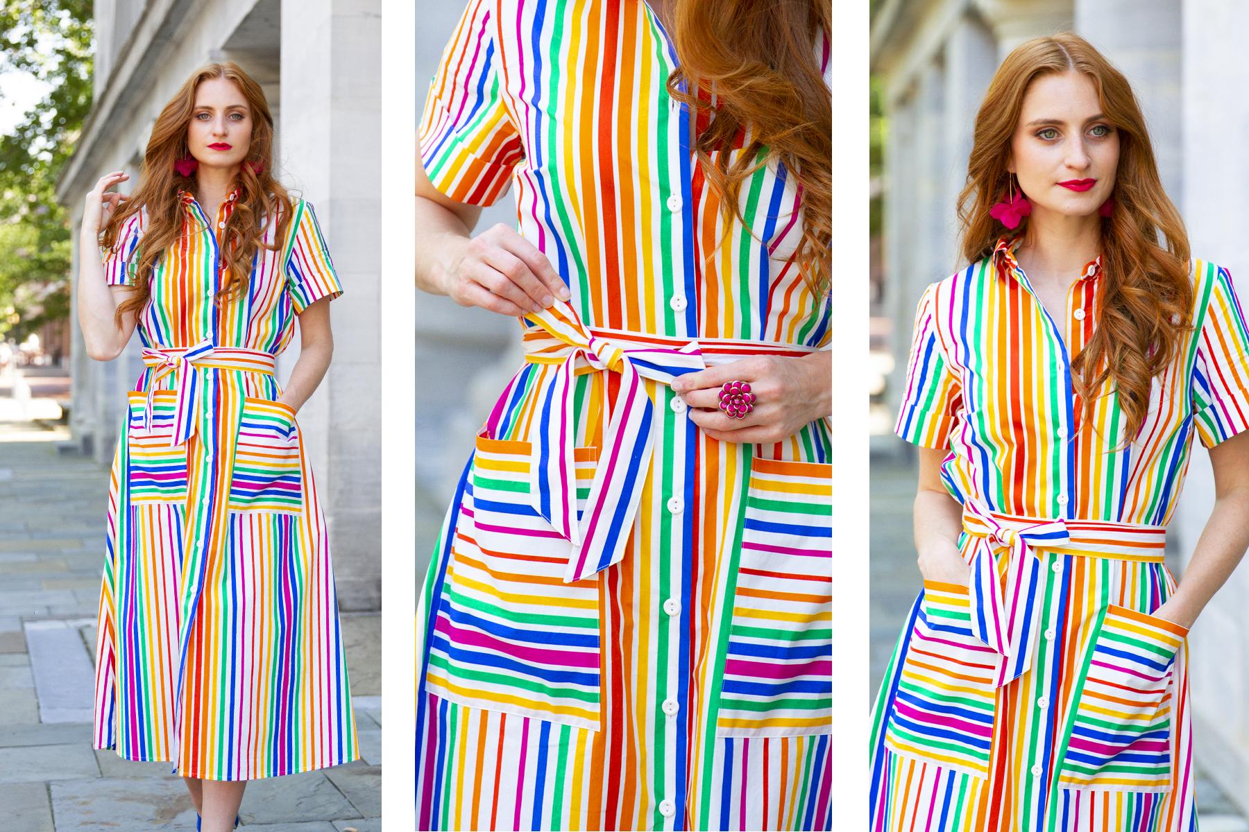 redhead wearing rainbow stripe dress Christopher John Rogers dress for Target, she's red haute