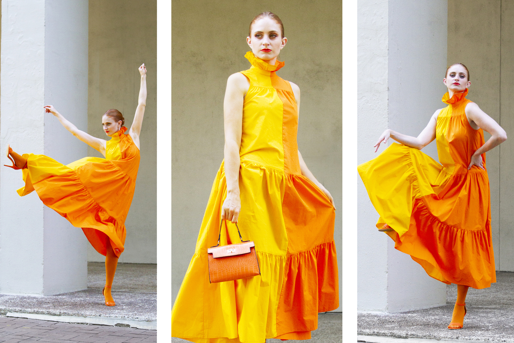 redhead wearing yellow and orange color block dress by Christopher John Rogers dress for Target, she's red haute